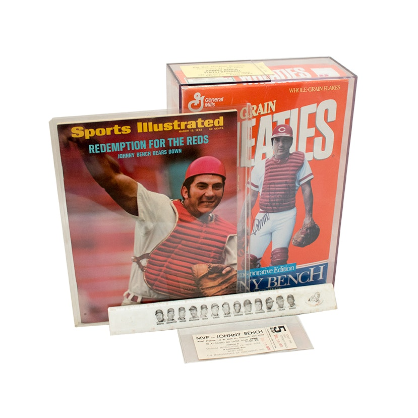 Johnny Bench Autographed Wheaties Box, Sports Illustrated Cover and Memorabilia