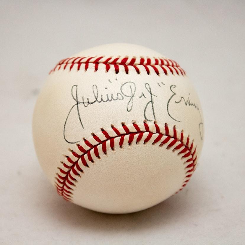 Julius Erving Autographed Baseball