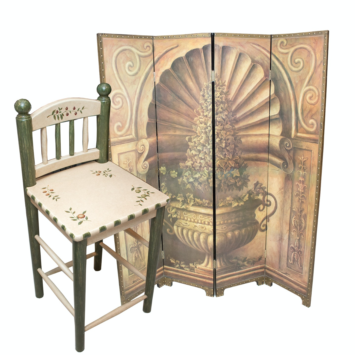 Stenciled Mediterranean Style Room Divider and Bar Chair