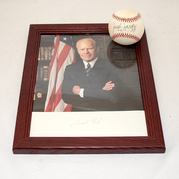 President Gerald Ford Signed Baseball and Photograph