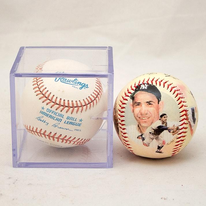 Autographed Yogi Berra Baseball and Stamped Commemorative Ball