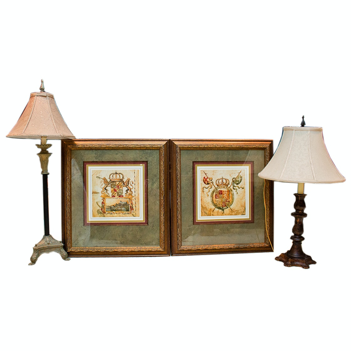 Framed Coat of Arms Art Pieces and Two Table Lamps