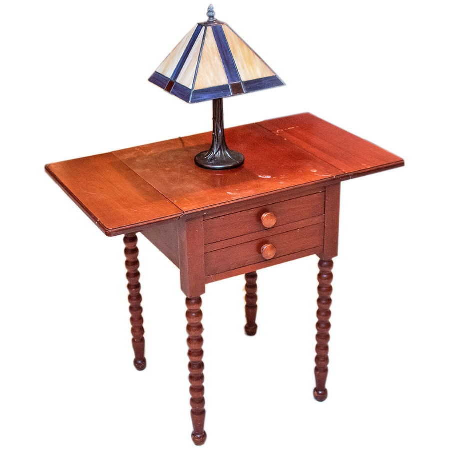 Vintage Drop-Leaf Cherry Table by Consider H. Willet and Stained Glass Lamp