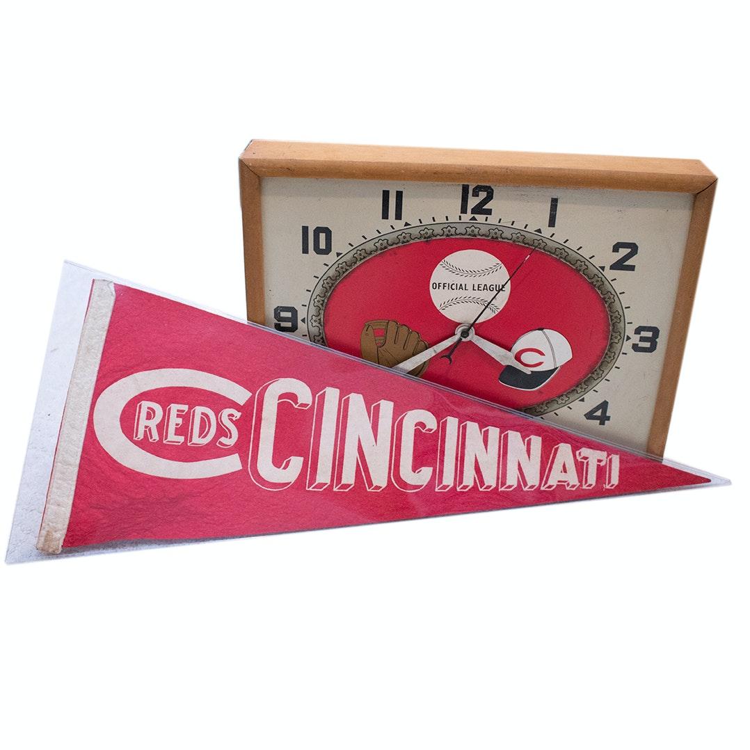 1940s Cincinnati Reds Wall Clock and Pennant