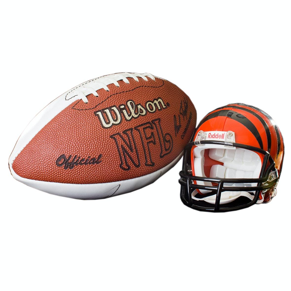 Autographed Doug Pelfrey Football and Chad Johnson Miniature Bengals Helmet