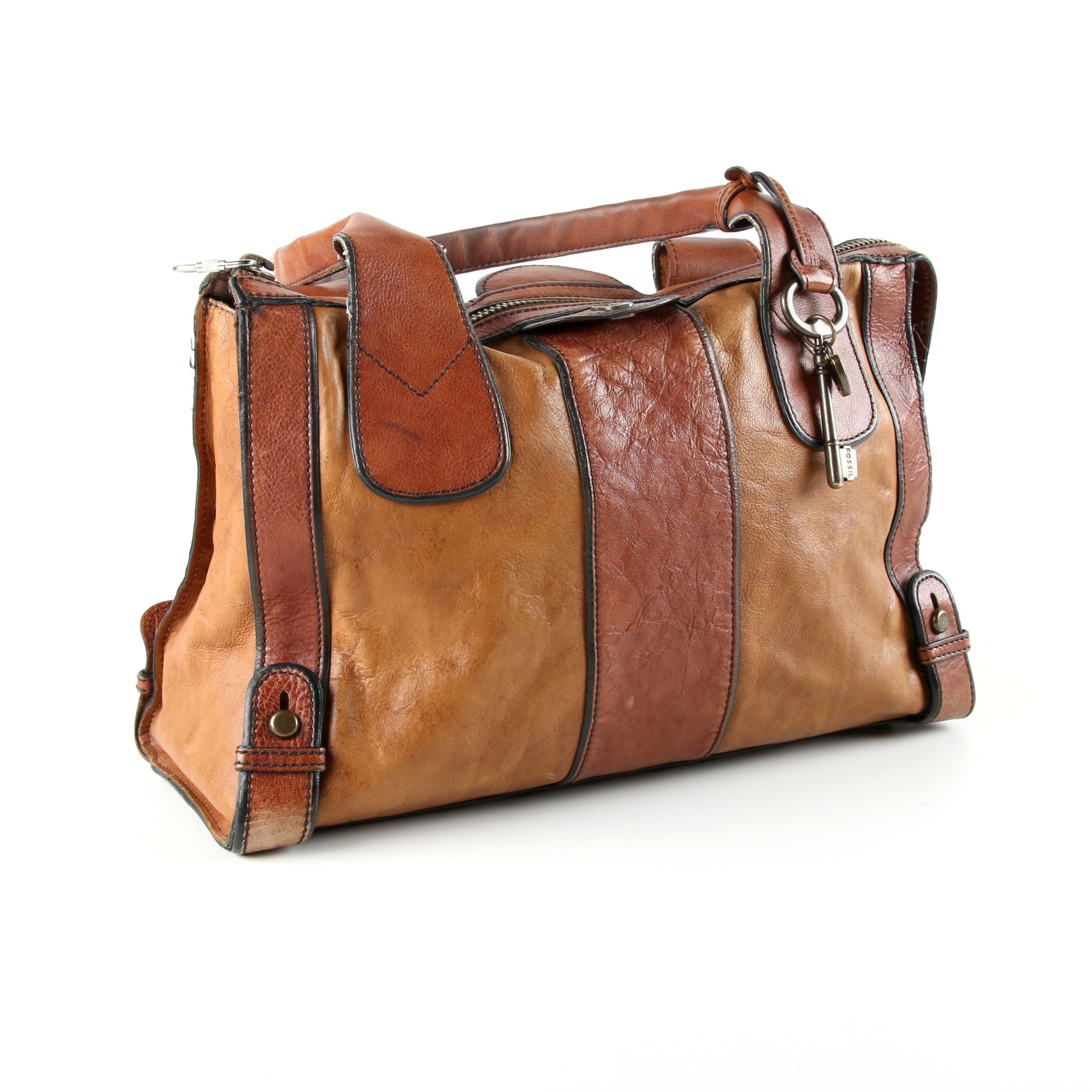 Fossil Two Tone Leather Weekender Satchel