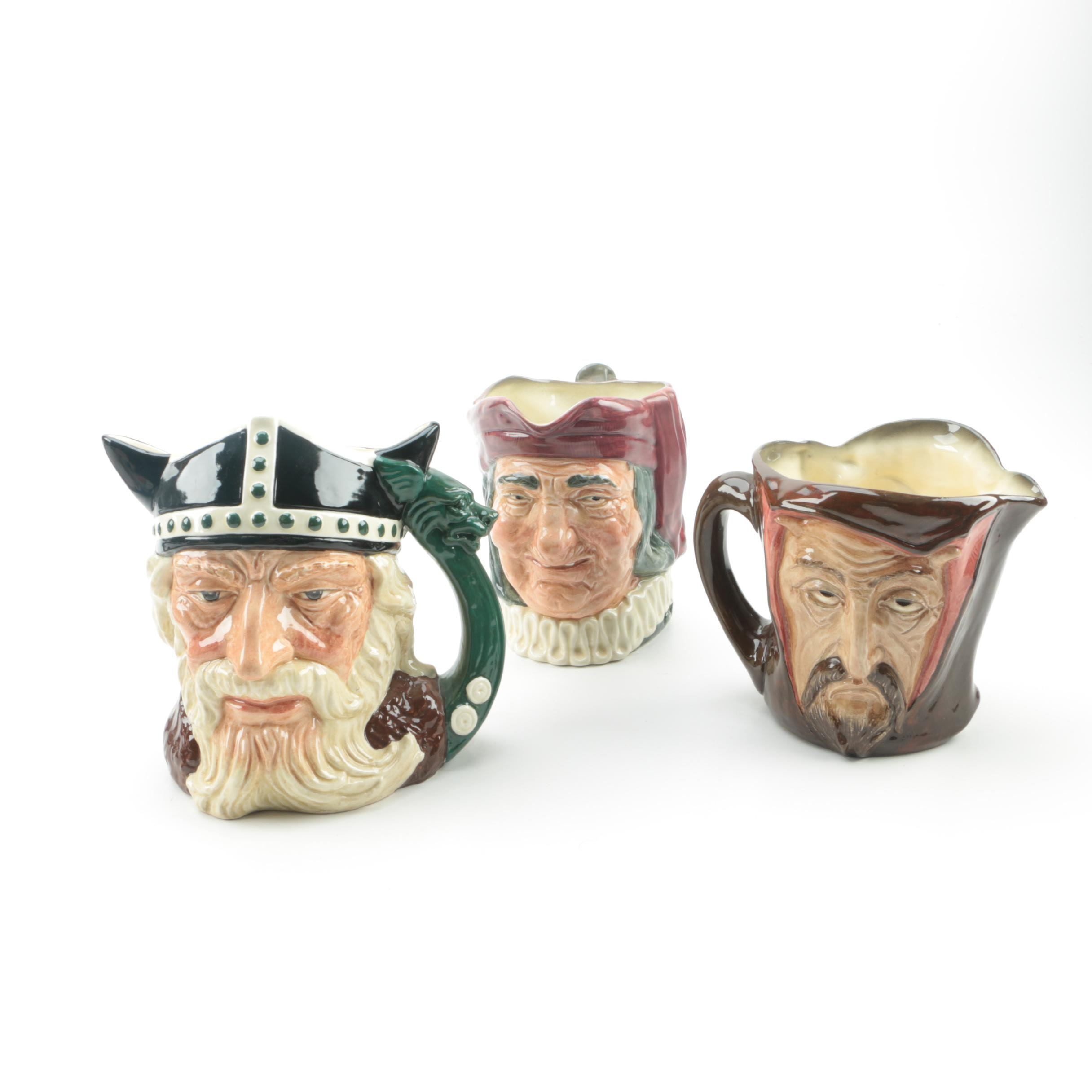 "Royal Doulton Character Jugs ""Mephistopheles"", ""Viking"" and ""Simon the Cellarer"""