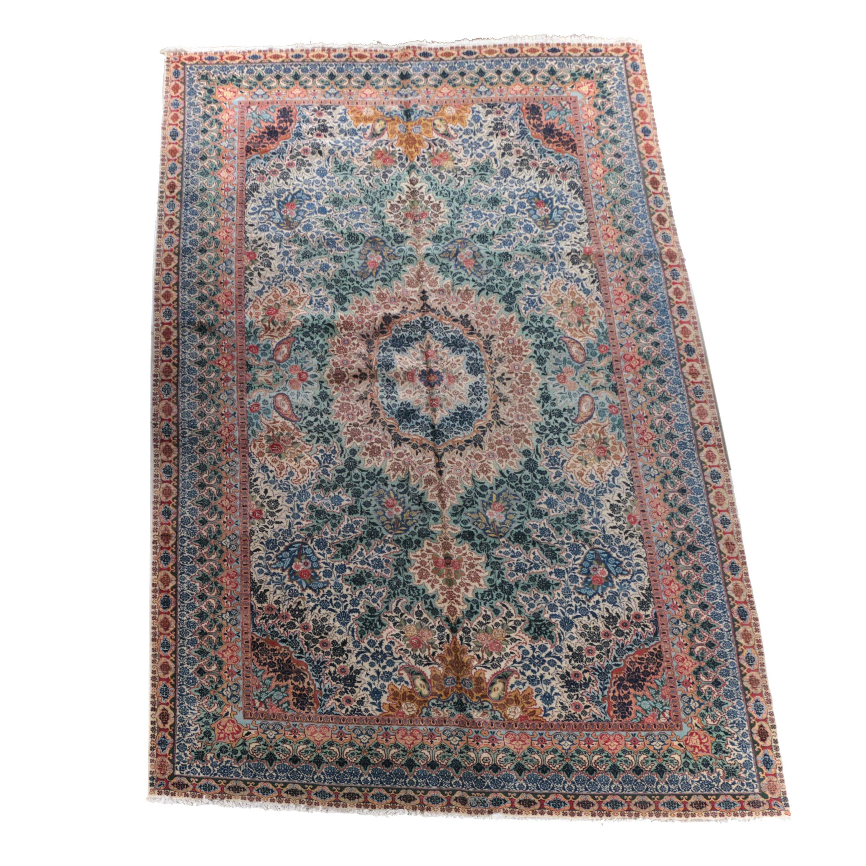 Exceptional Antique Signed Hand-Knotted Dorokhsh Mashhad Palace Rug