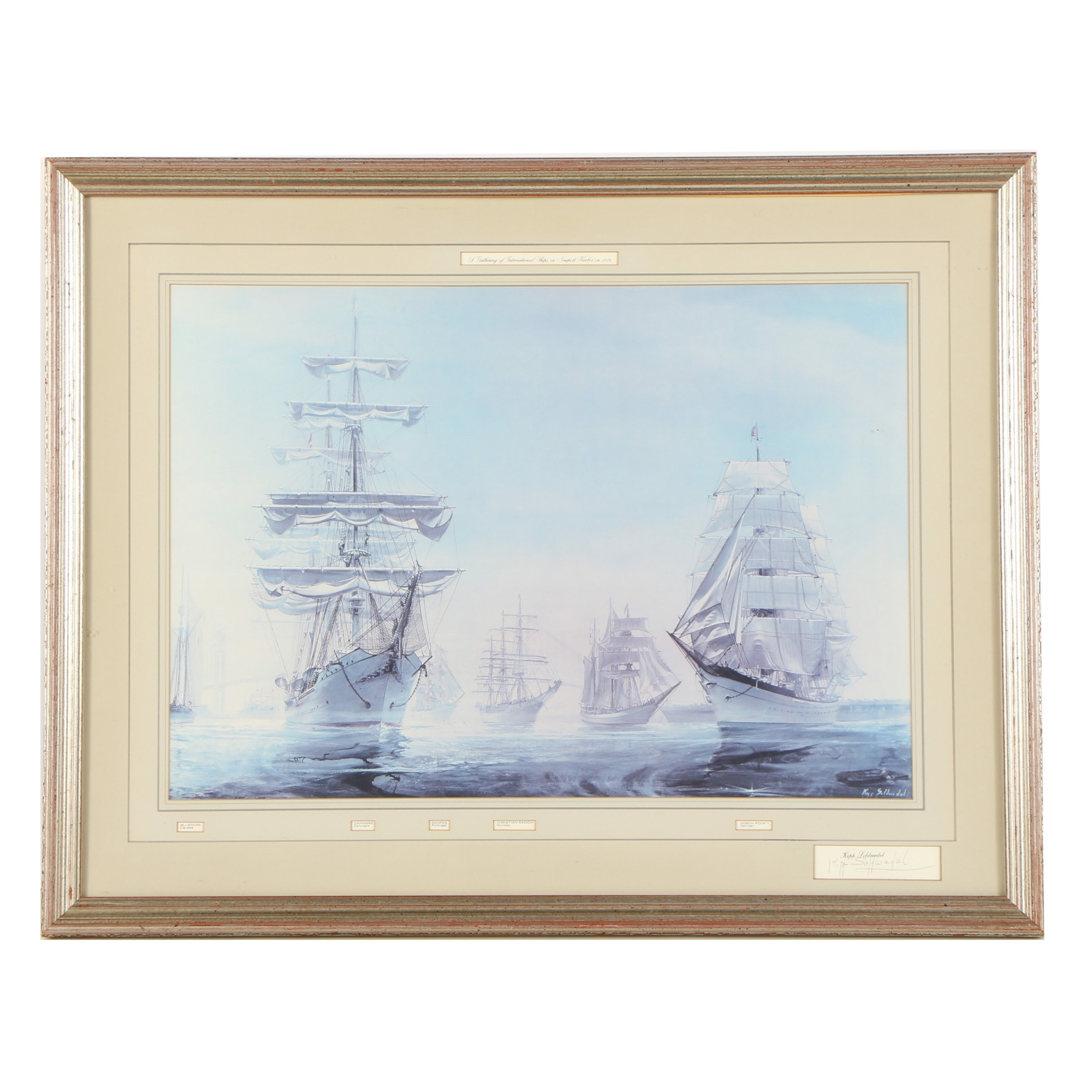 "Kipp Soldwedel Offset Lithograph ""A Gathering of International Ships..."""