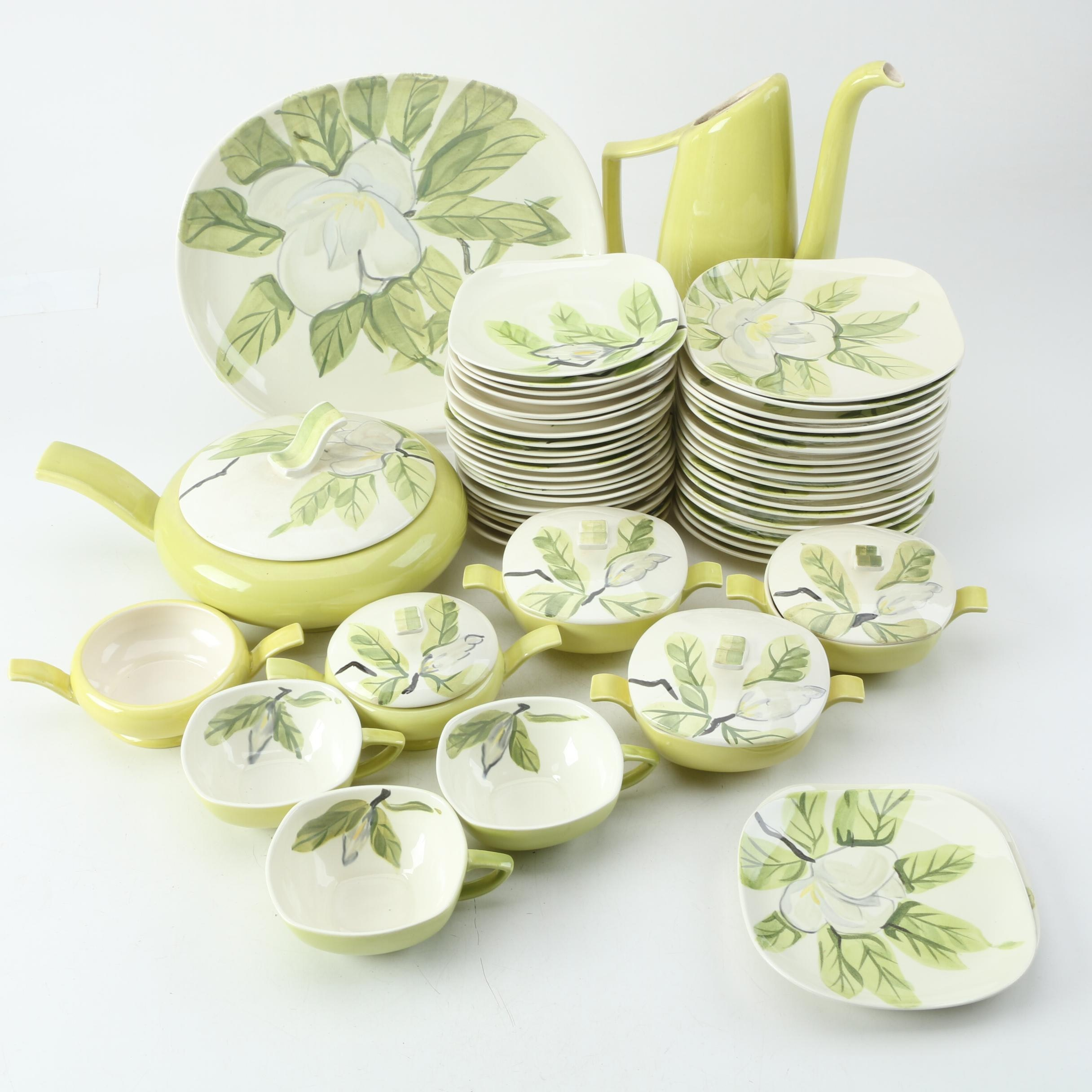 "Mid Century Red Wing Pottery ""Magnolia Chartreuse"" Tableware"
