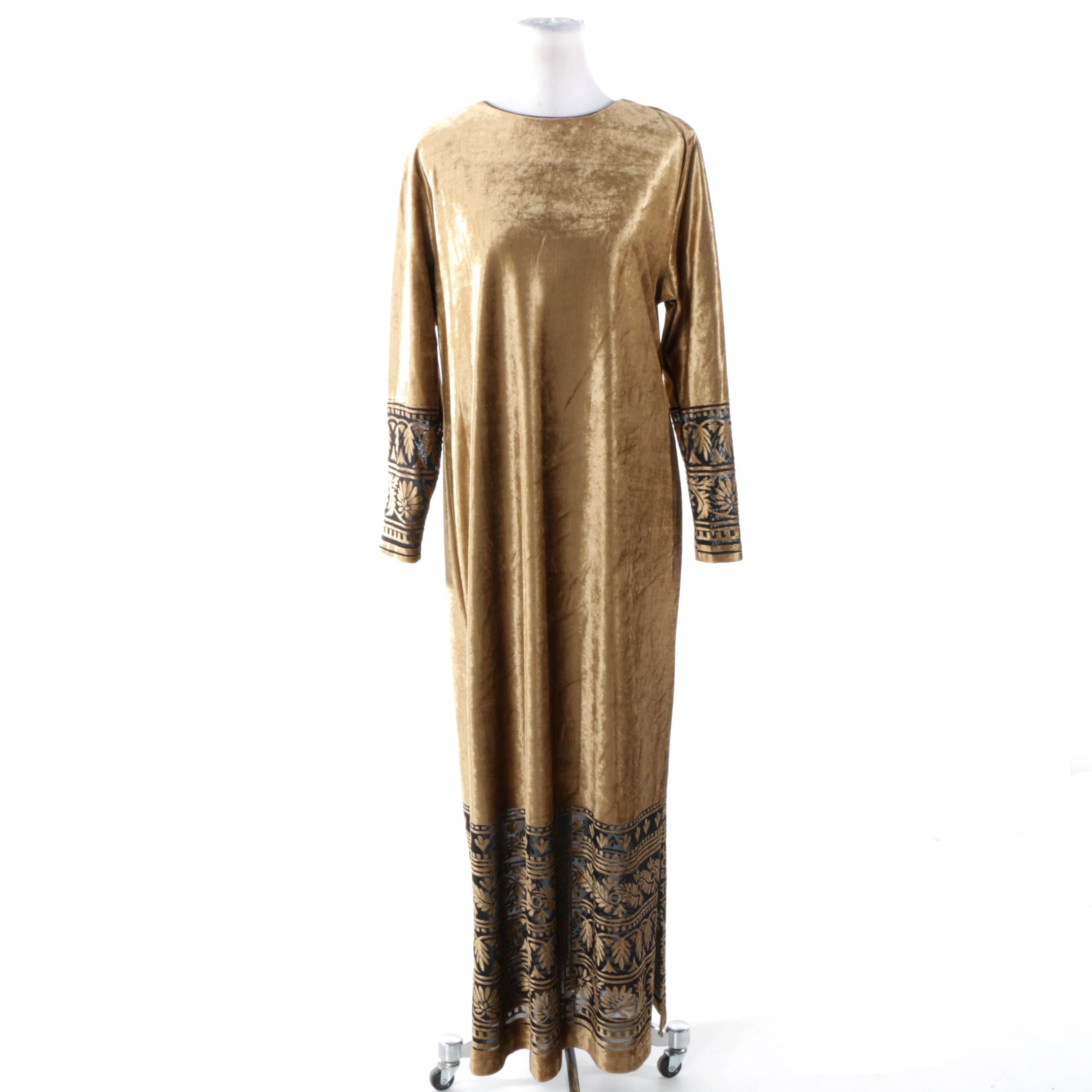 Vintage Ruth Norman Golden Velour Dress Trimmed in Black