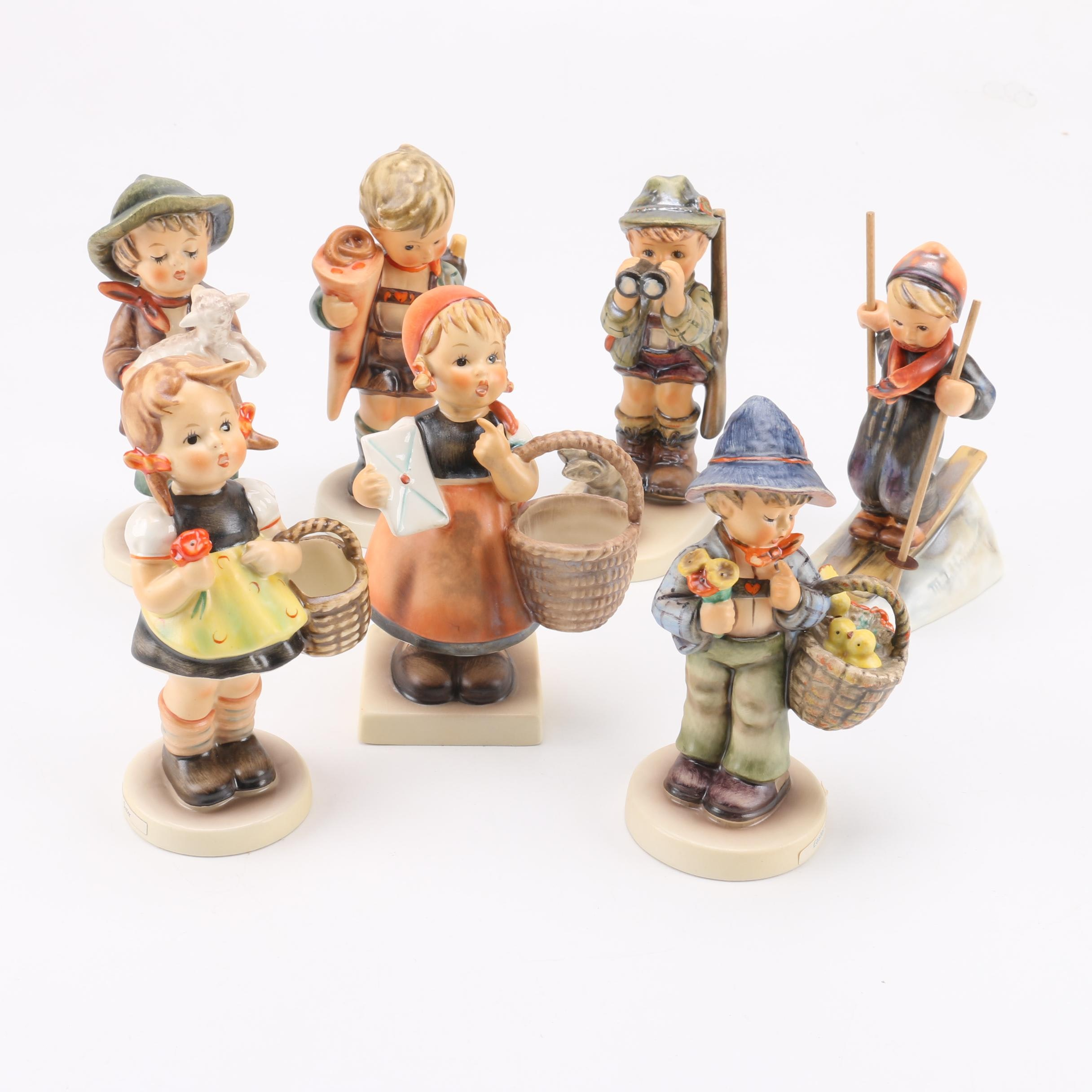 "Vintage Hummel Figurines including ""Sister"", ""Little Scholar"", and ""Skier"""