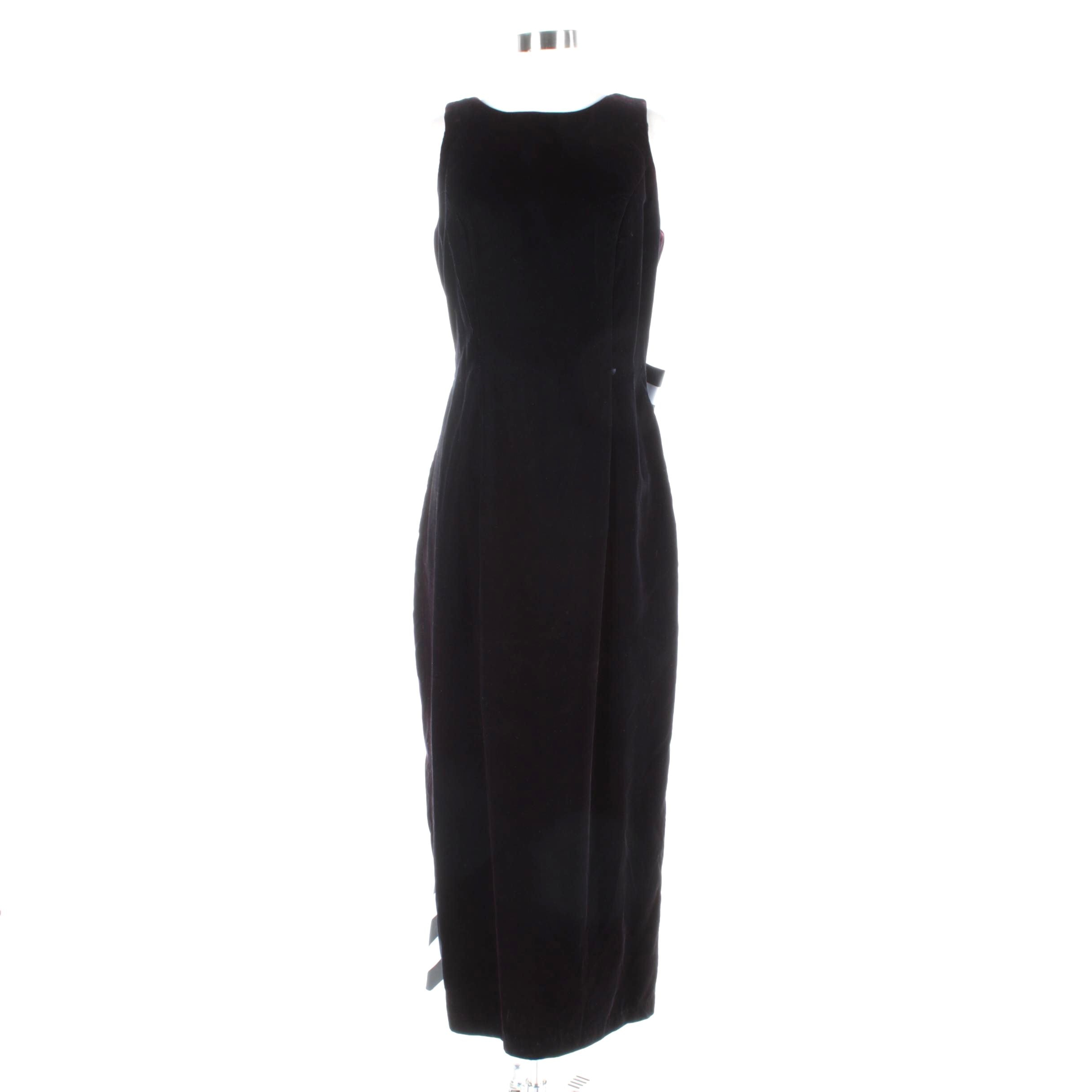 Dave & Johnny Black Velvet Sleeveless Gown with Striped Bow and Train