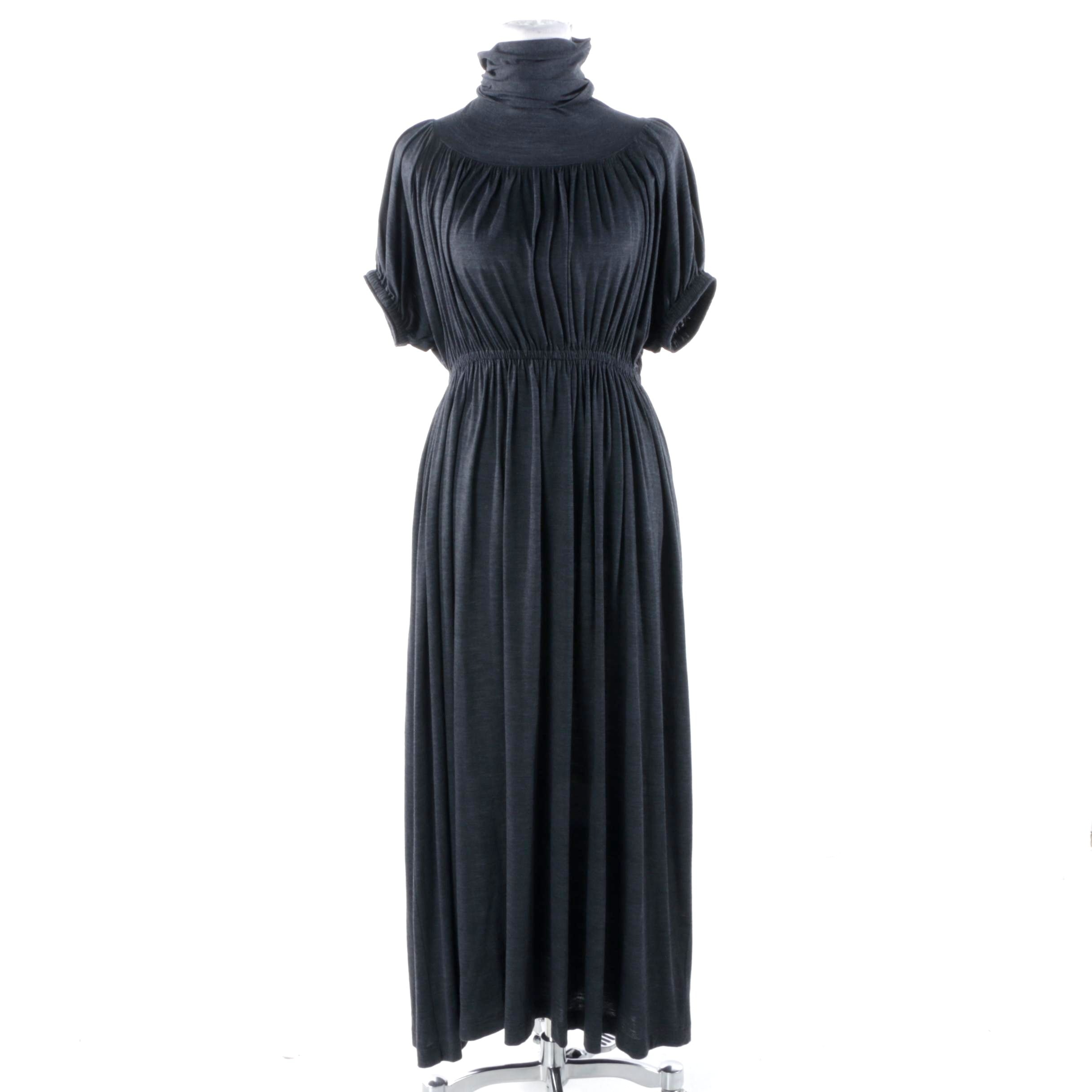 Jean Paul Gaultier Classique Charcoal Gray Gathered Turtleneck Dress
