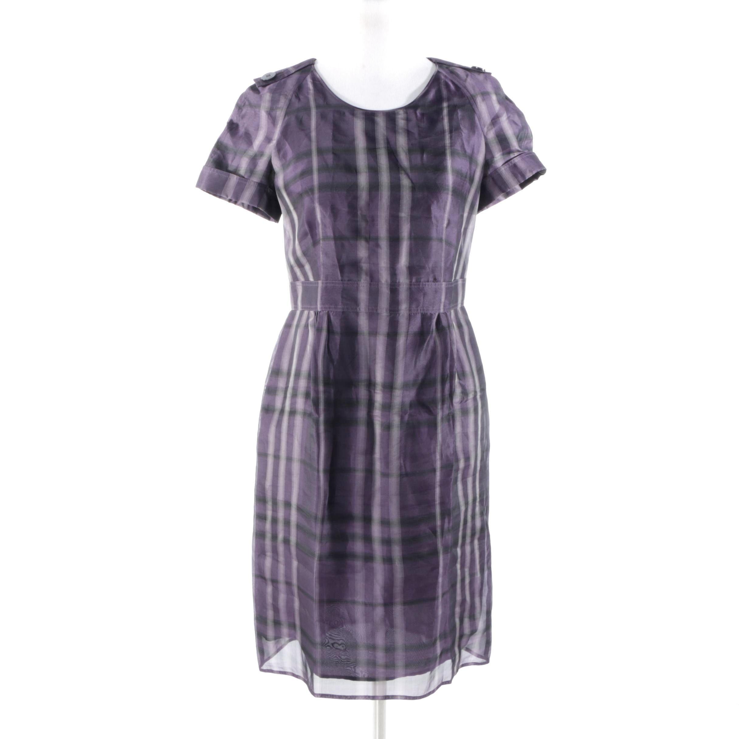 Burberry London Purple Plaid Silk Dress