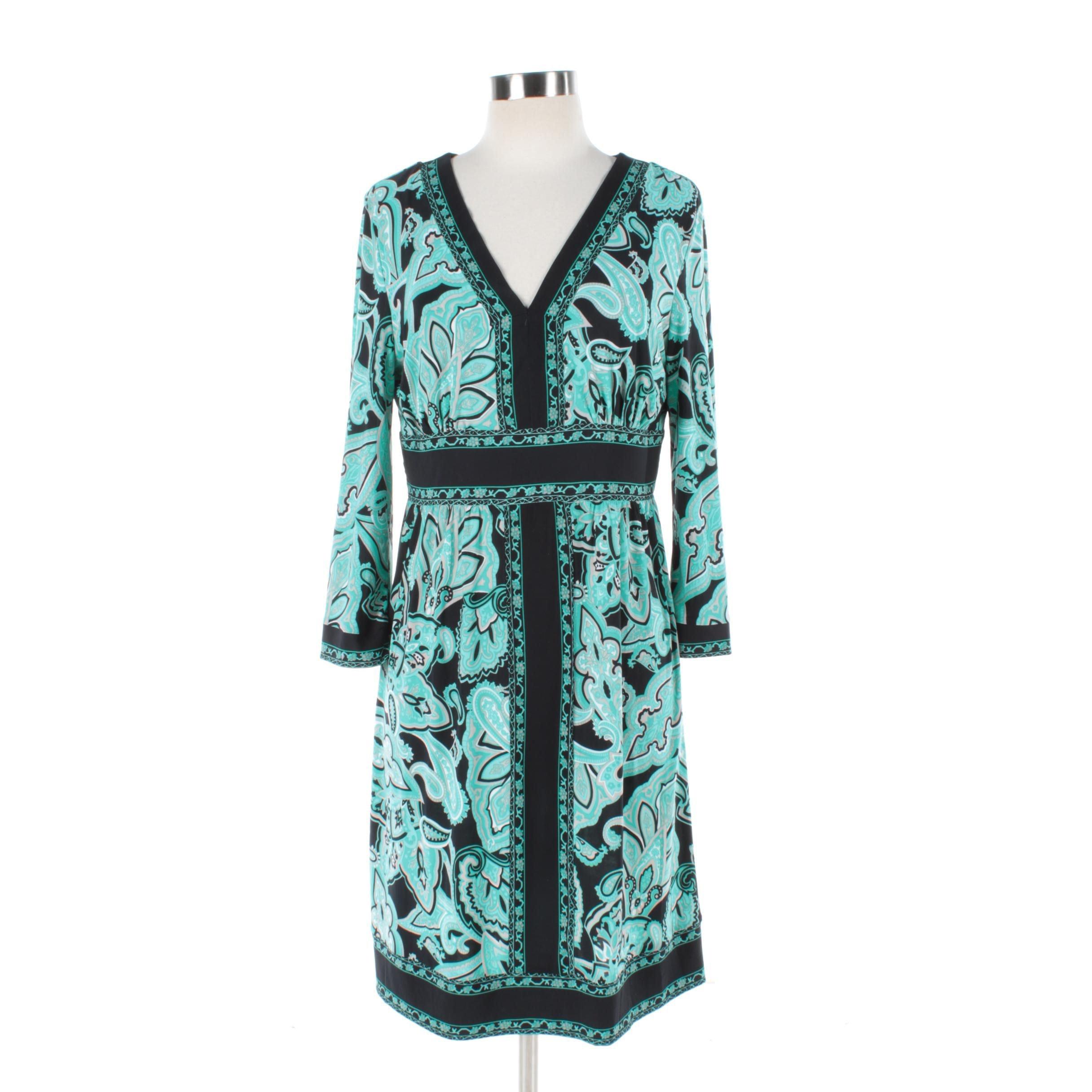 INC Black and Teal Paisley Print Dress