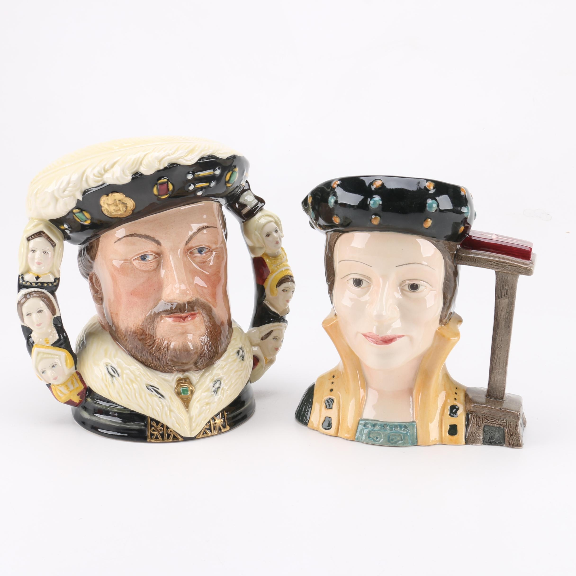 "Royal Doulton ""King Henry VIII"" and ""Catherine Parr"" Toby Mugs"
