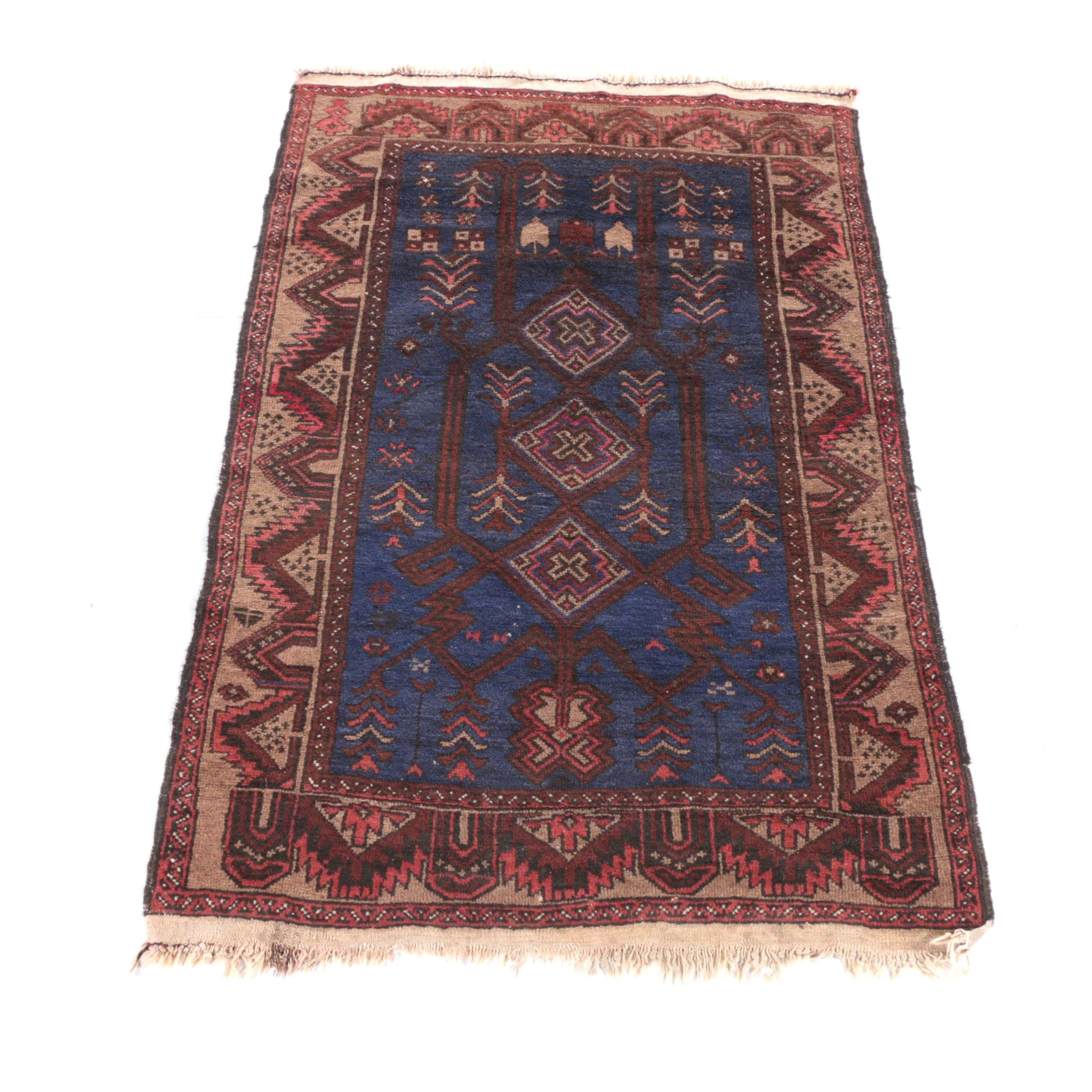 Vintage Hand-Knotted Shiraz Wool Prayer Rug