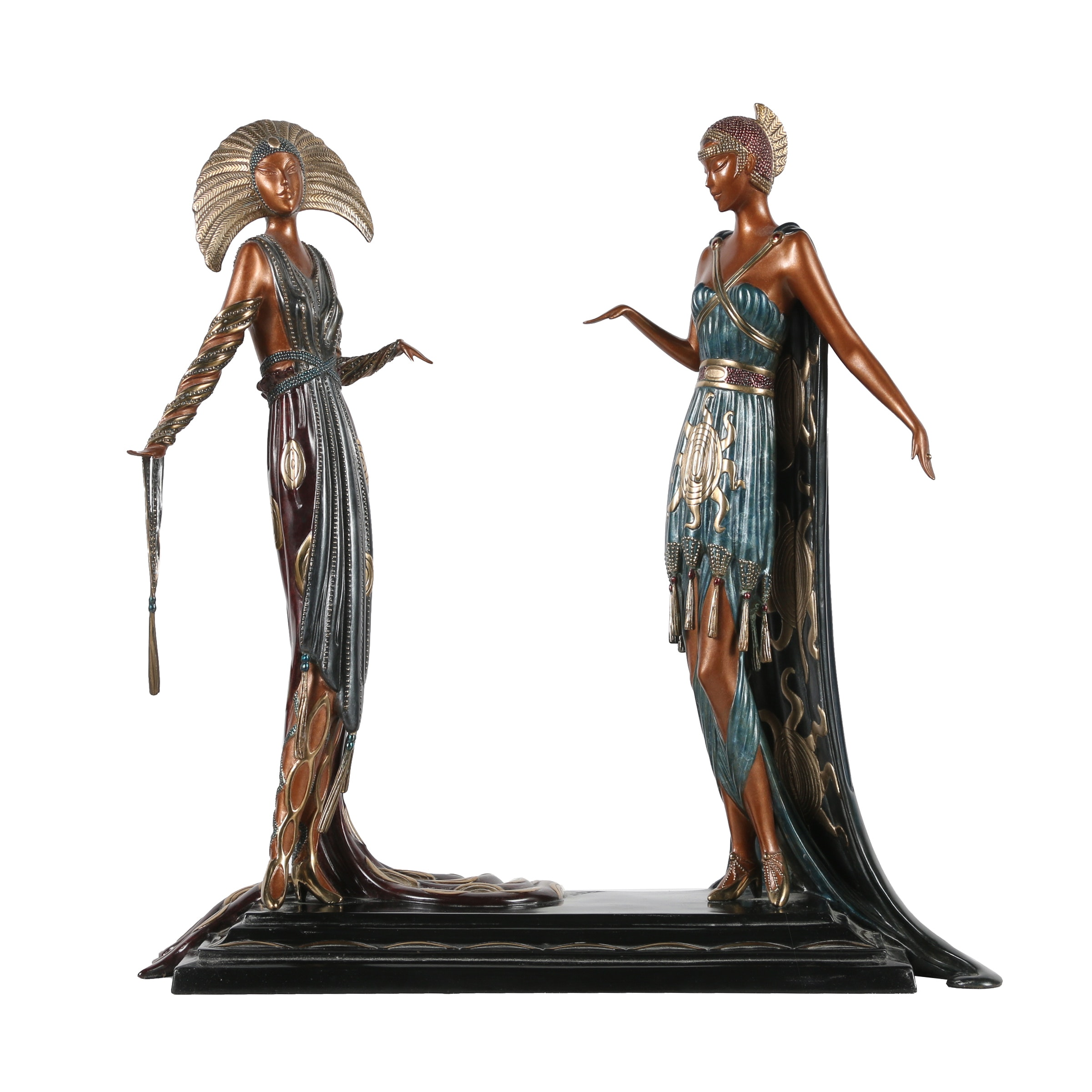 "Erté Patinated Bronze Sculpture ""Two Vamps"""