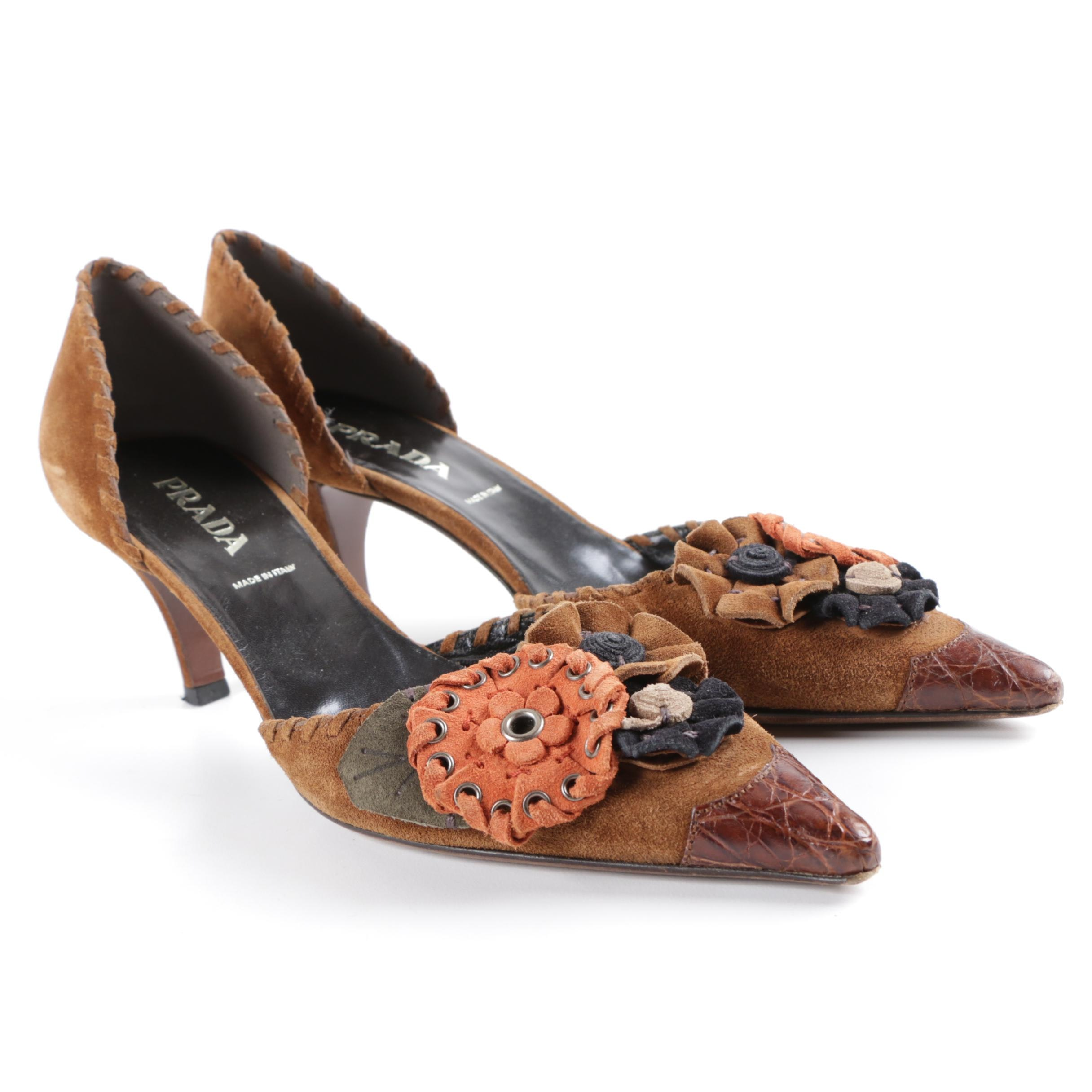 Prada Brown Suede D'Orsay Pumps with Suede Rosettes