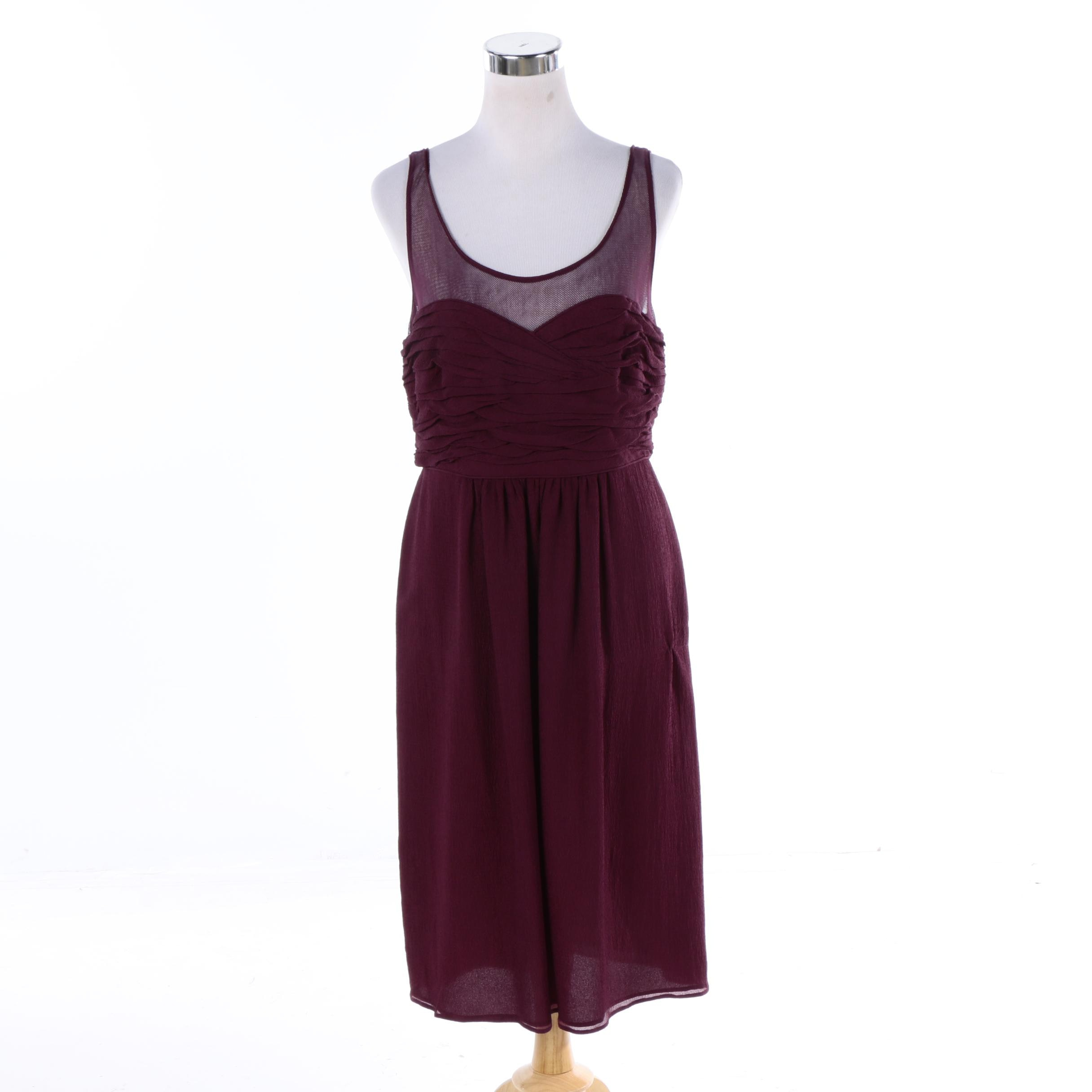 NWT Burberry Magenta Silk Sleeveless Dress
