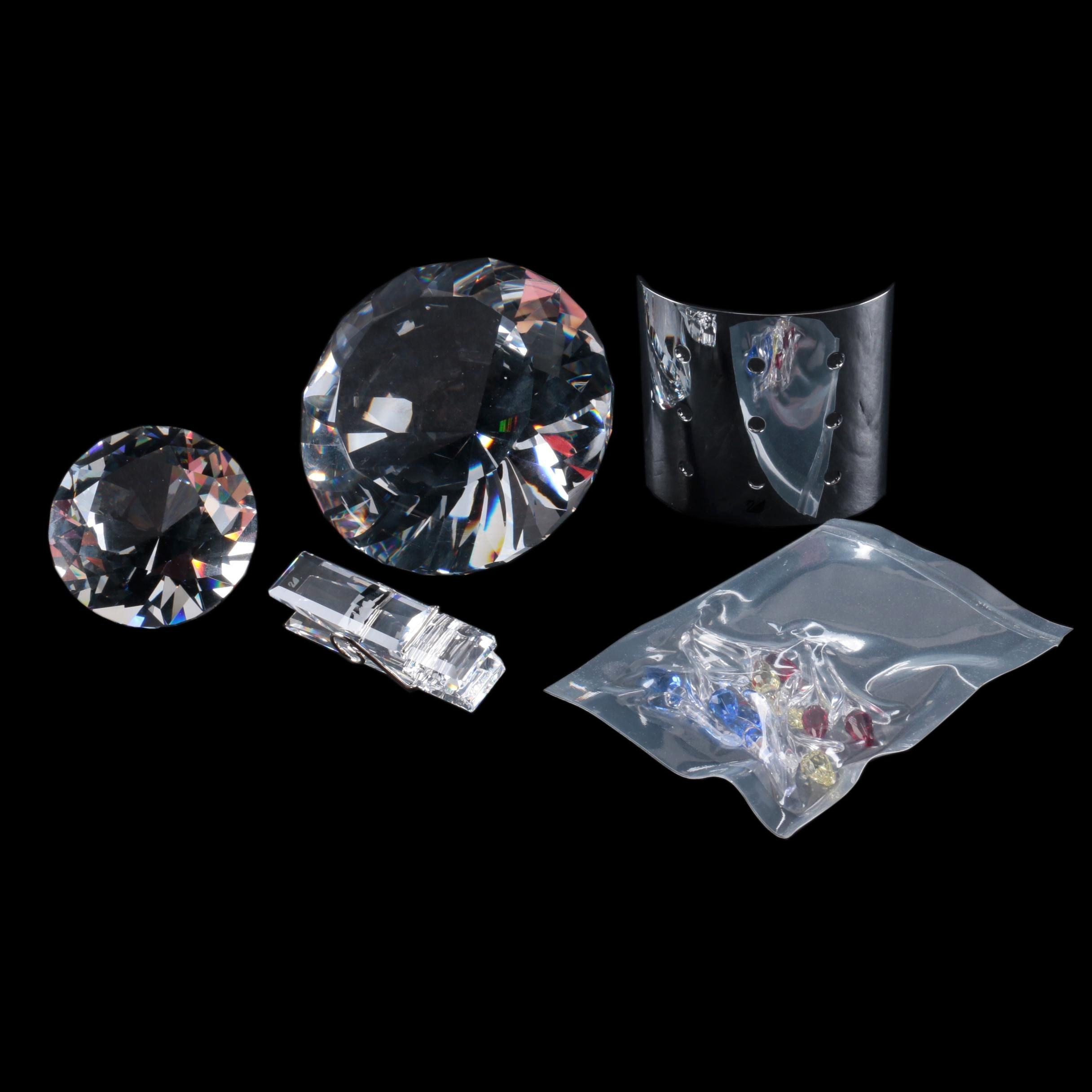 """Swarovski Crystal """"Chaton"""" Diamond Paperweights and Collectibles"""