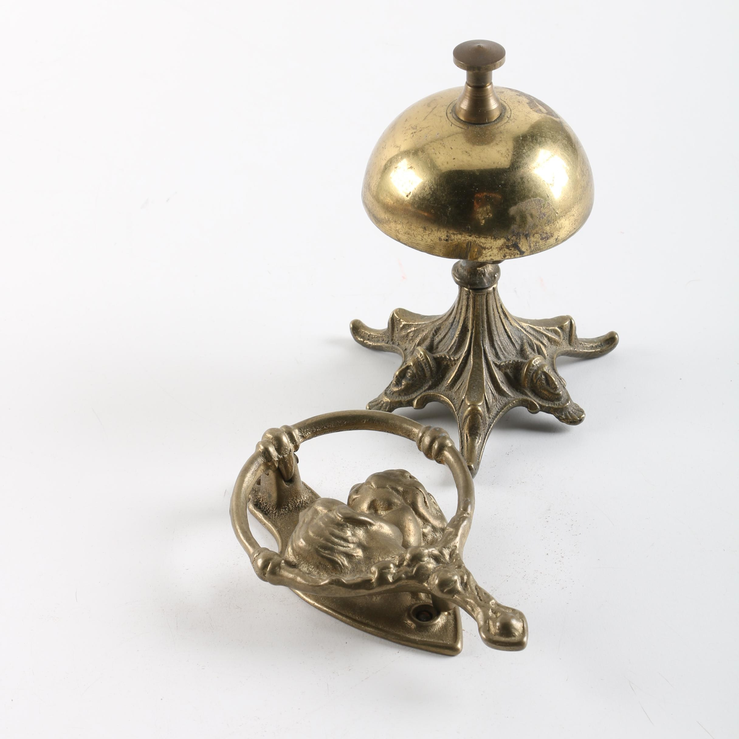 Brass Service Desk Bell With an Ornate Door Knocker