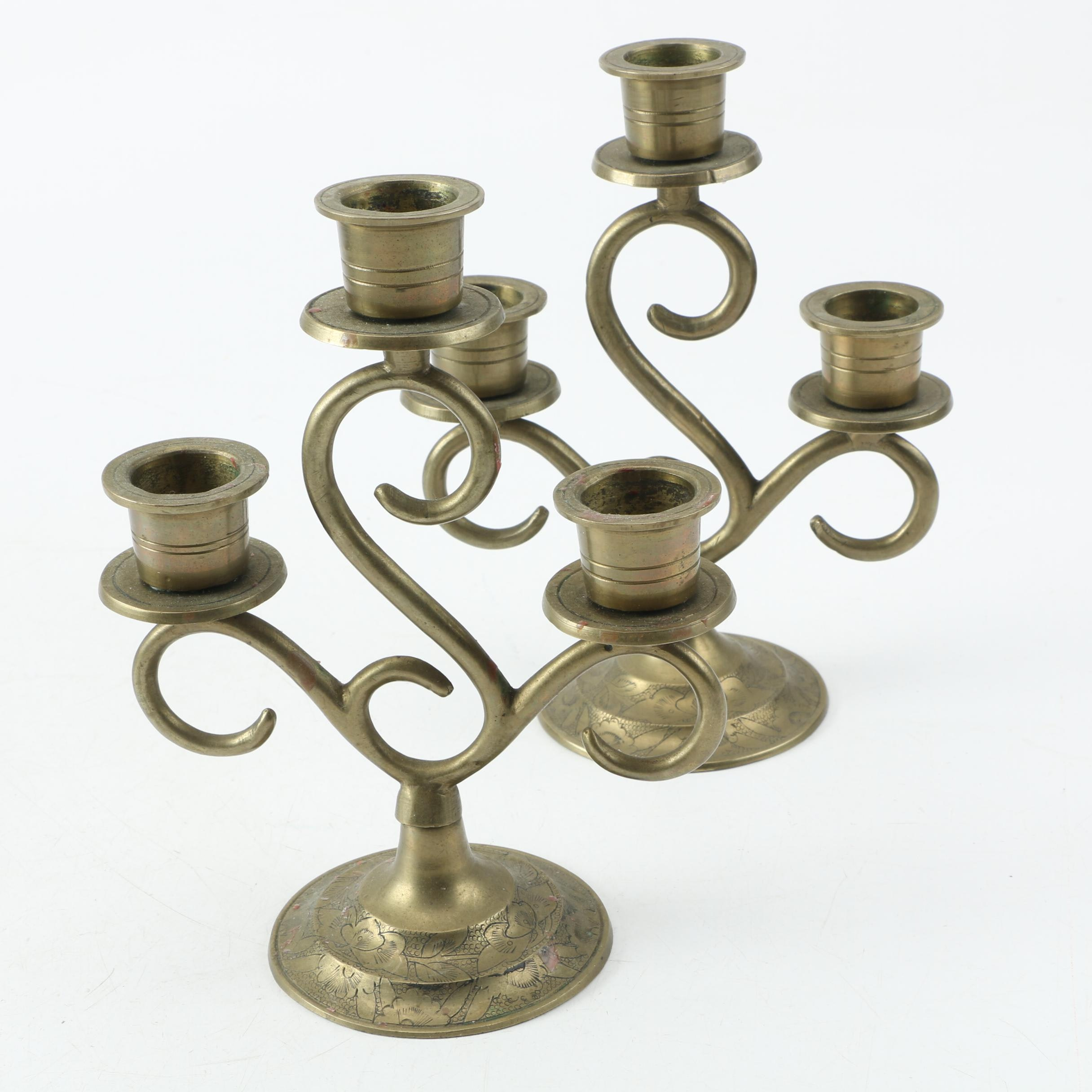 Chinese Brass Candlesticks with Scrolled Arms