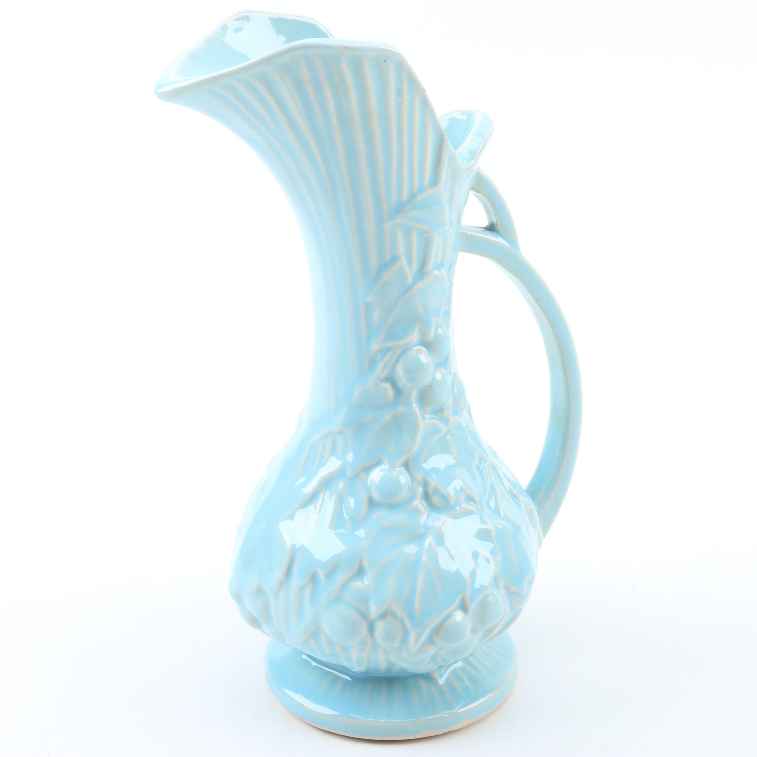 "McCoy Blue ""Grapes and Leaves"" Ceramic Ewer"