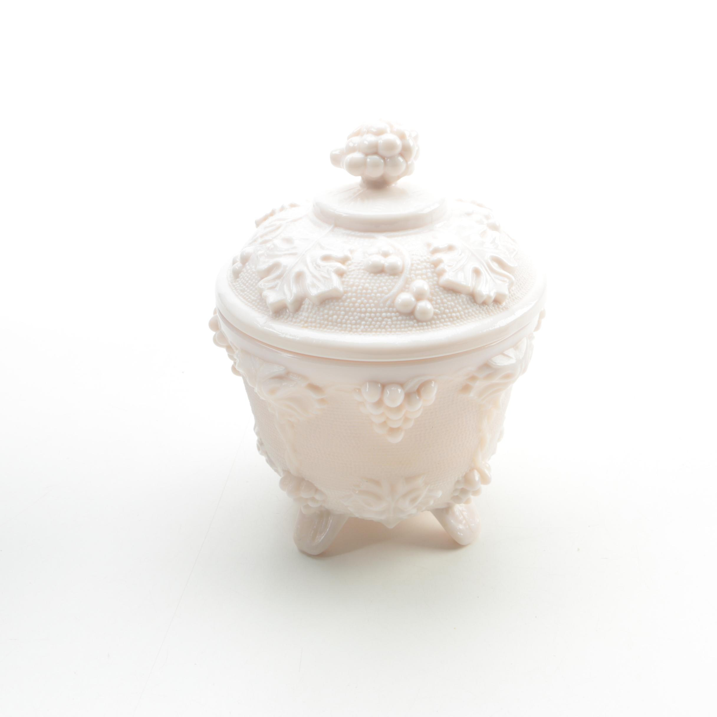 Ceramic Grape and Foliage Motif Container