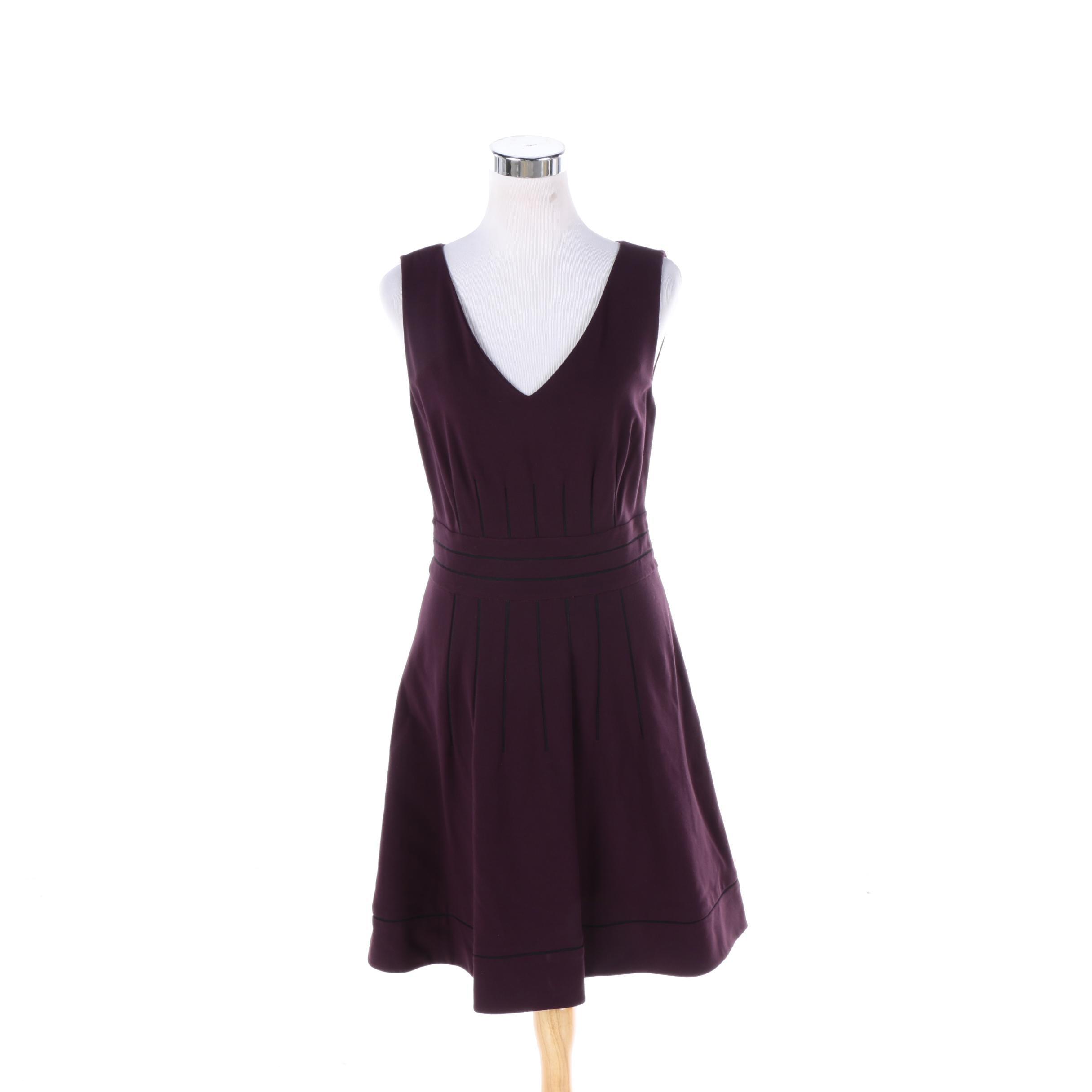 NWT Diane von Furstenberg Georgette Eggplant Sleeveless Dress