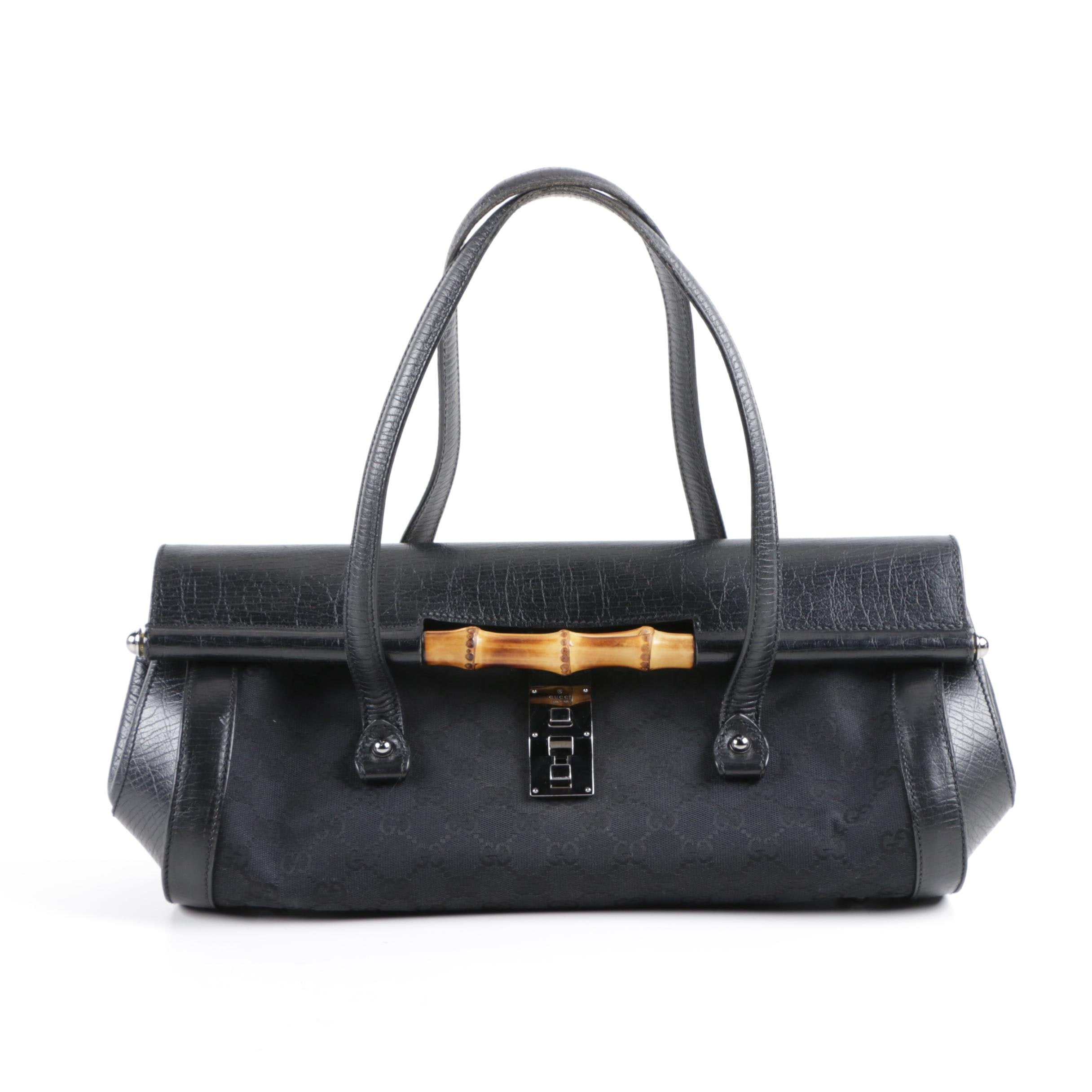 Gucci Bamboo Bullet Tote in Black Leather and Signature Canvas