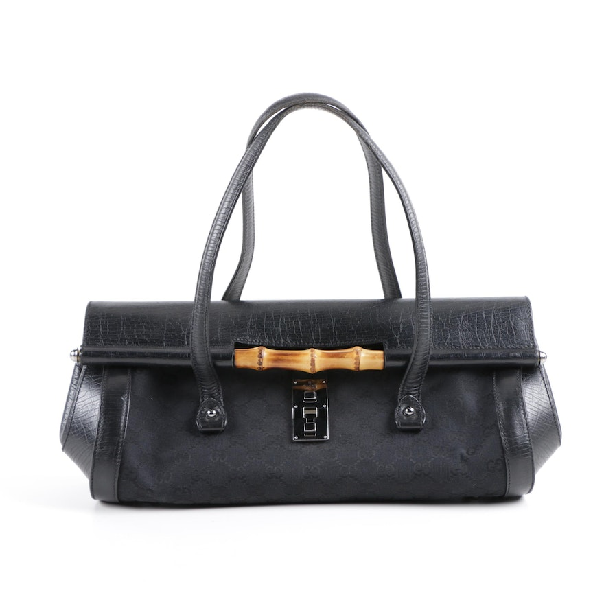 4895ac175d45 Gucci Bamboo Bullet Tote in Black Leather and Signature Canvas