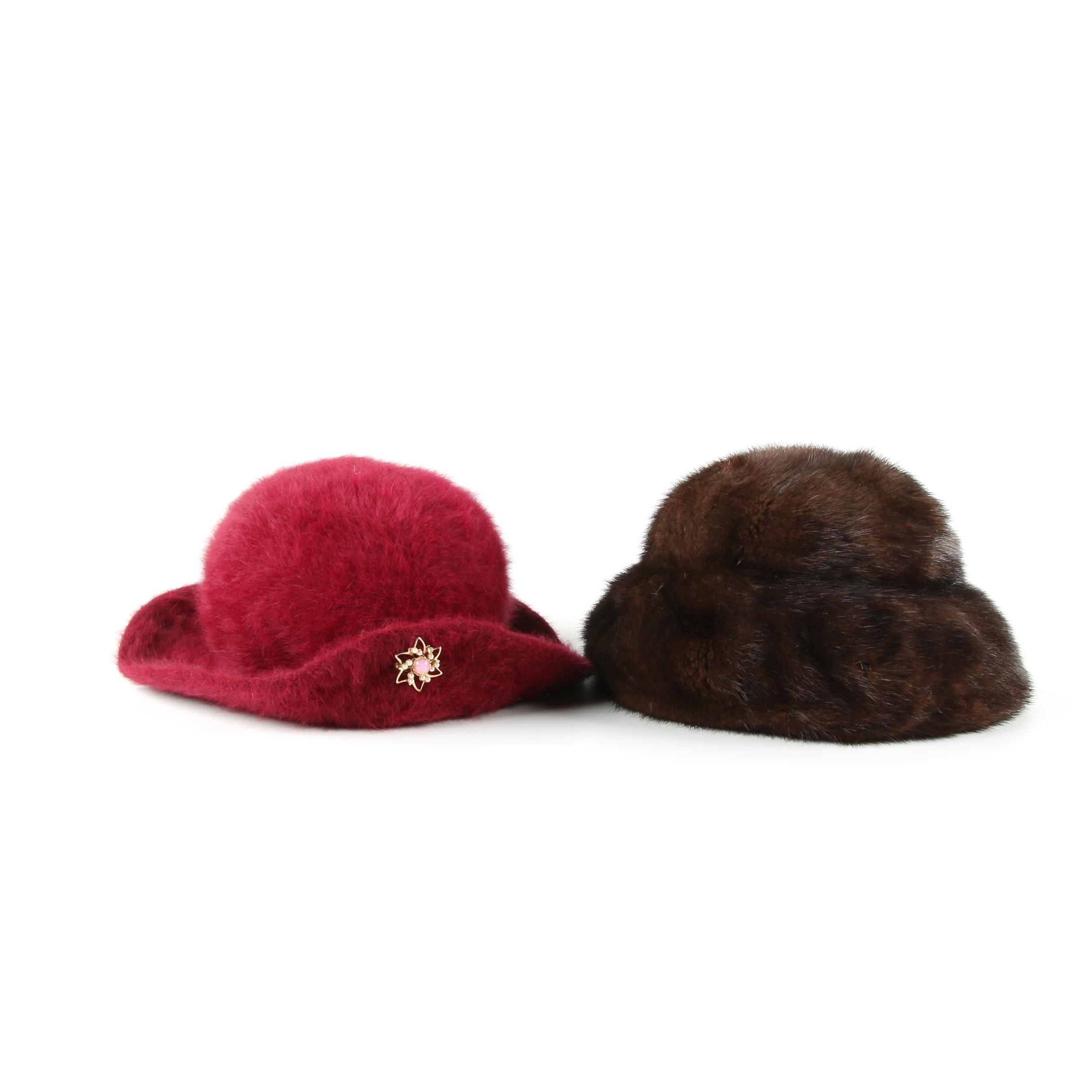 Women's Mink Fur and Halper Brothers Dyed Rabbit Fur Cloche Hats