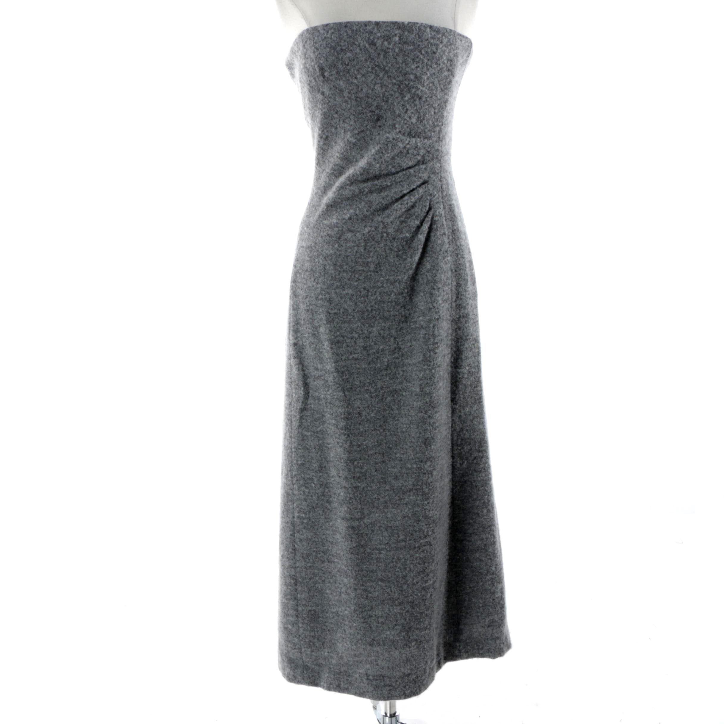Giorgio Armani Le Collezioni Grey Wool Blend Strapless Dress