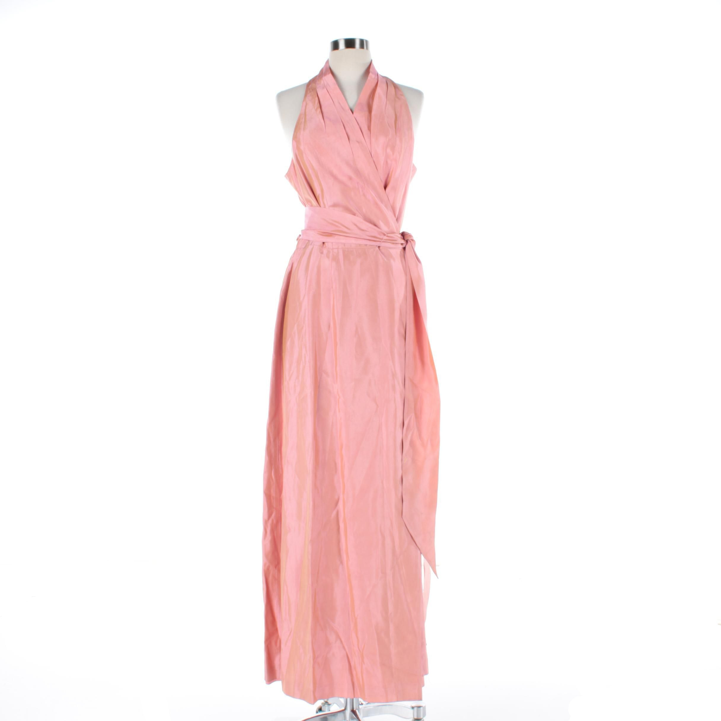Women's Iridescent Pink Wrap Sleeveless Gown