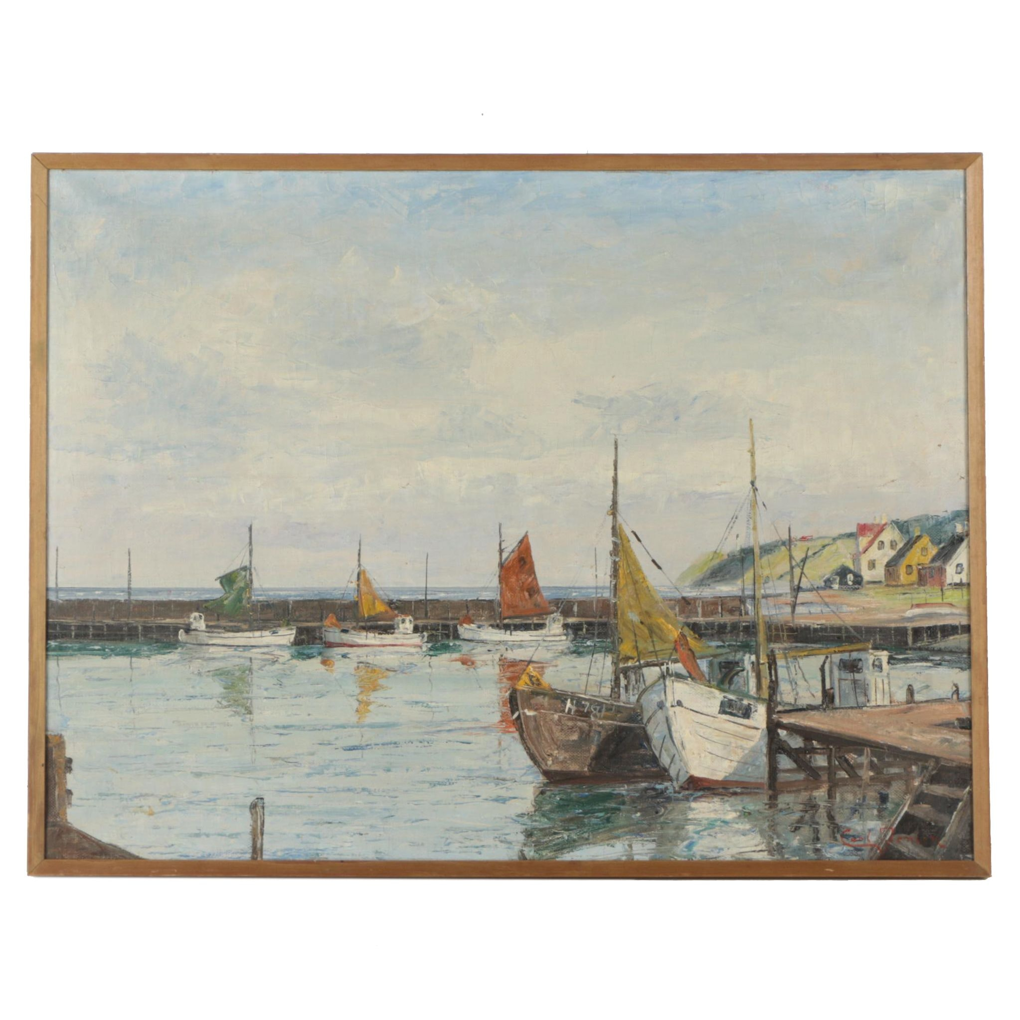 Carl Fenson Oil Painting of Docked Boats