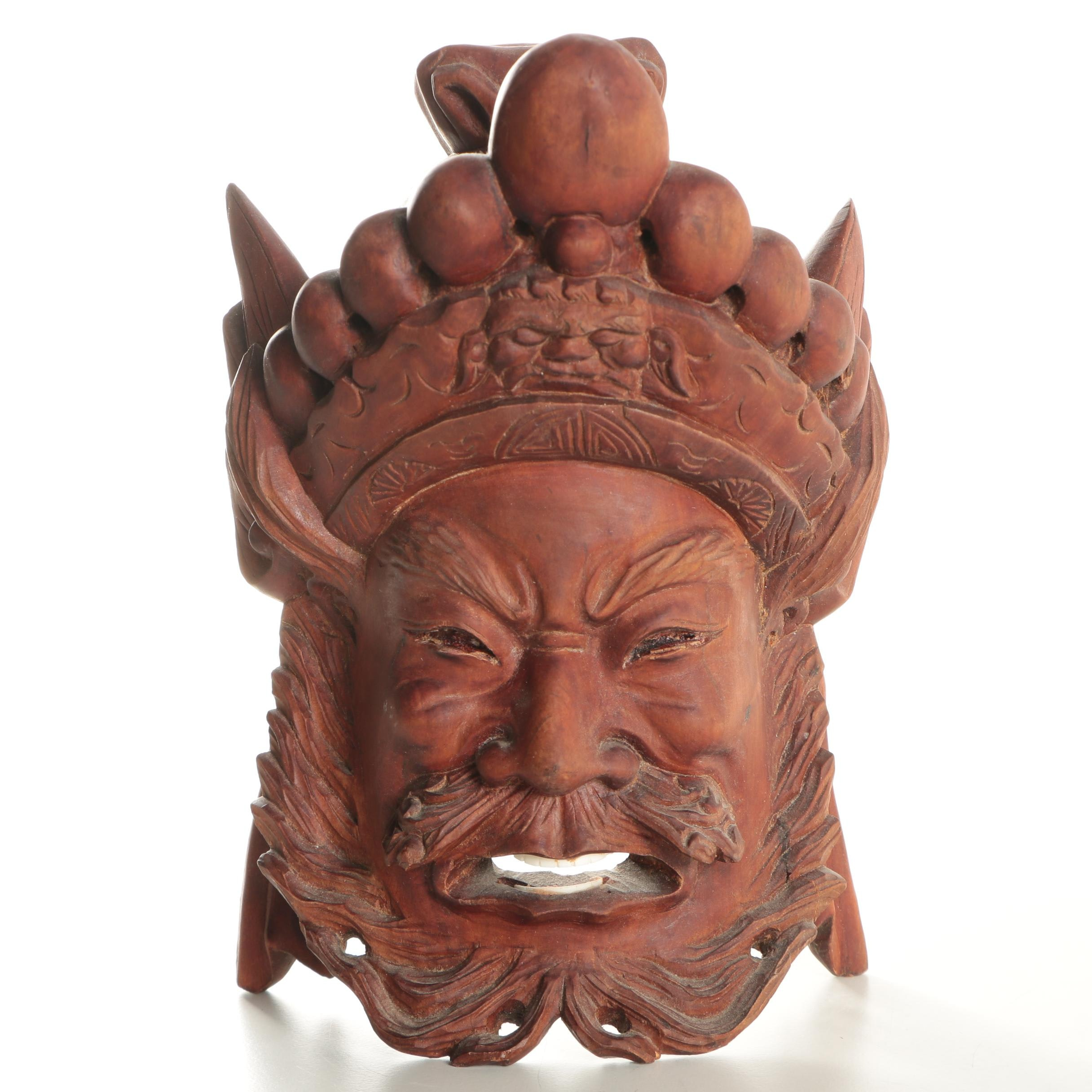 Chinese Hand Carved Teak Face