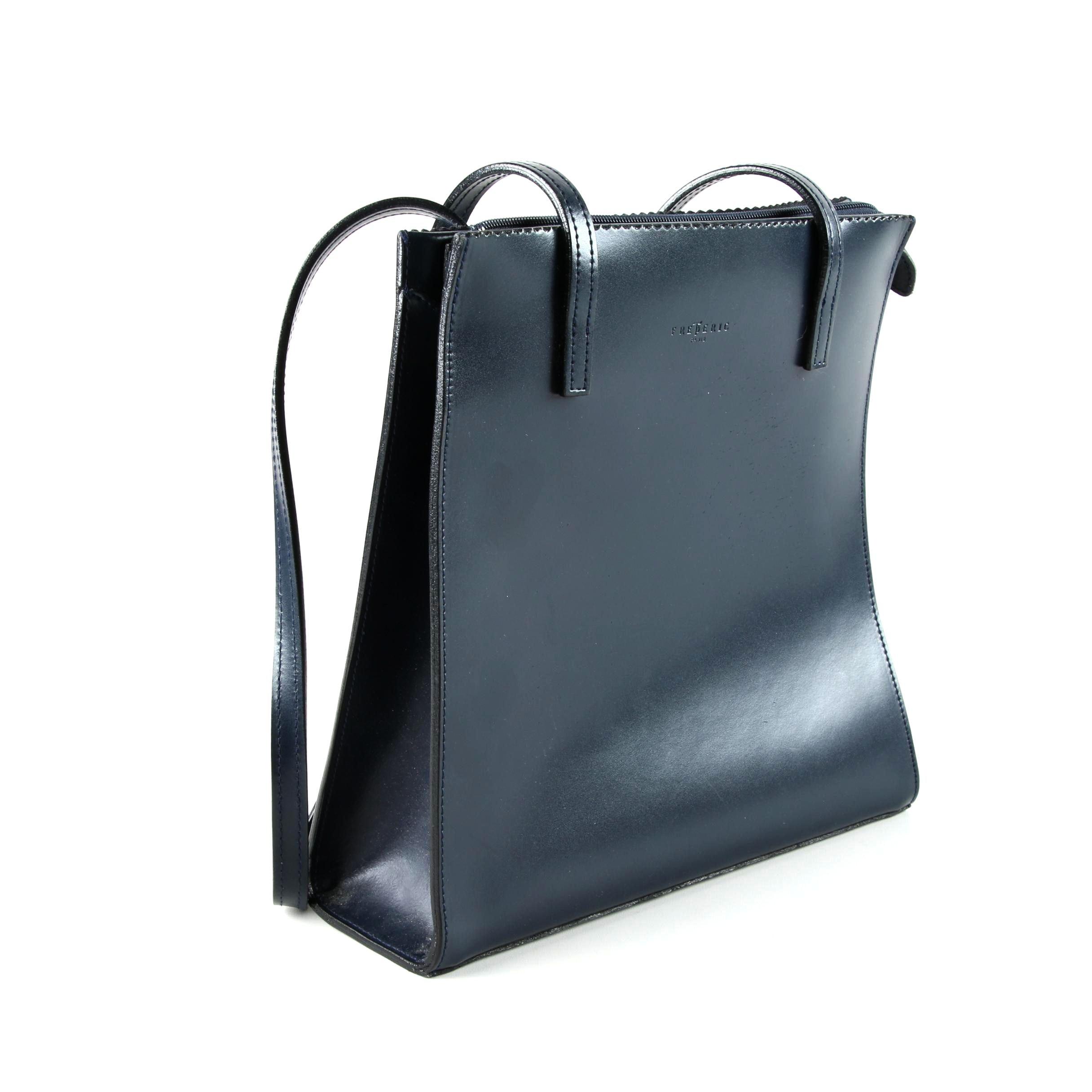 Frederic of Paris Navy Blue Leather Shoulder Bag