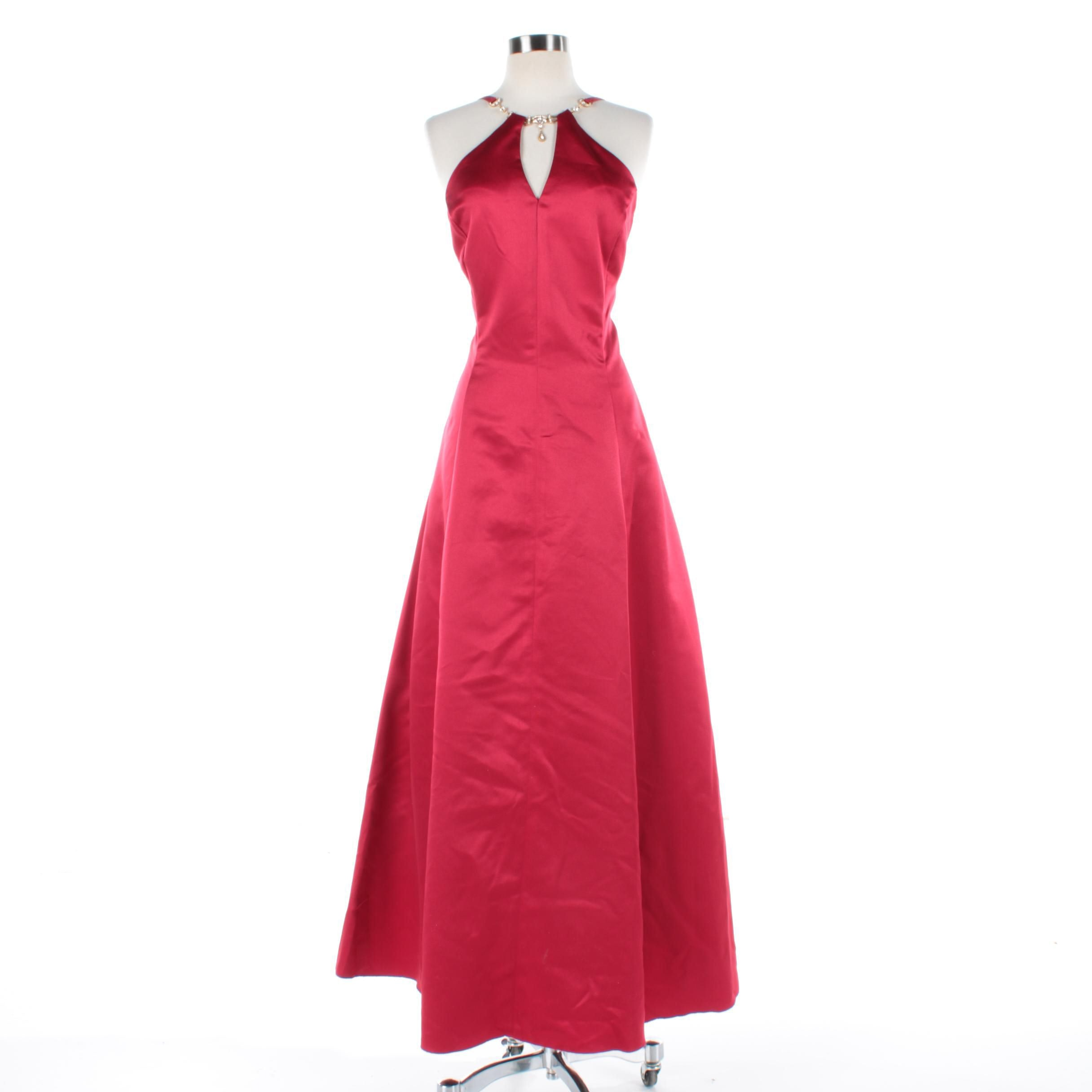 Scott McClintock Red Satin Gown with Foilback Jewel Neckline