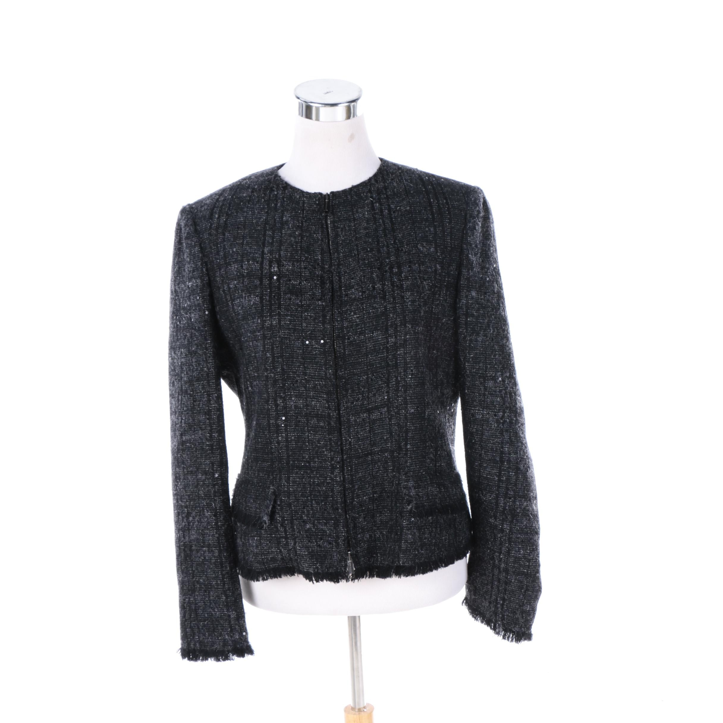 Women's Burberry London Wool Blend Suit Jacket with Sequin Embellishments