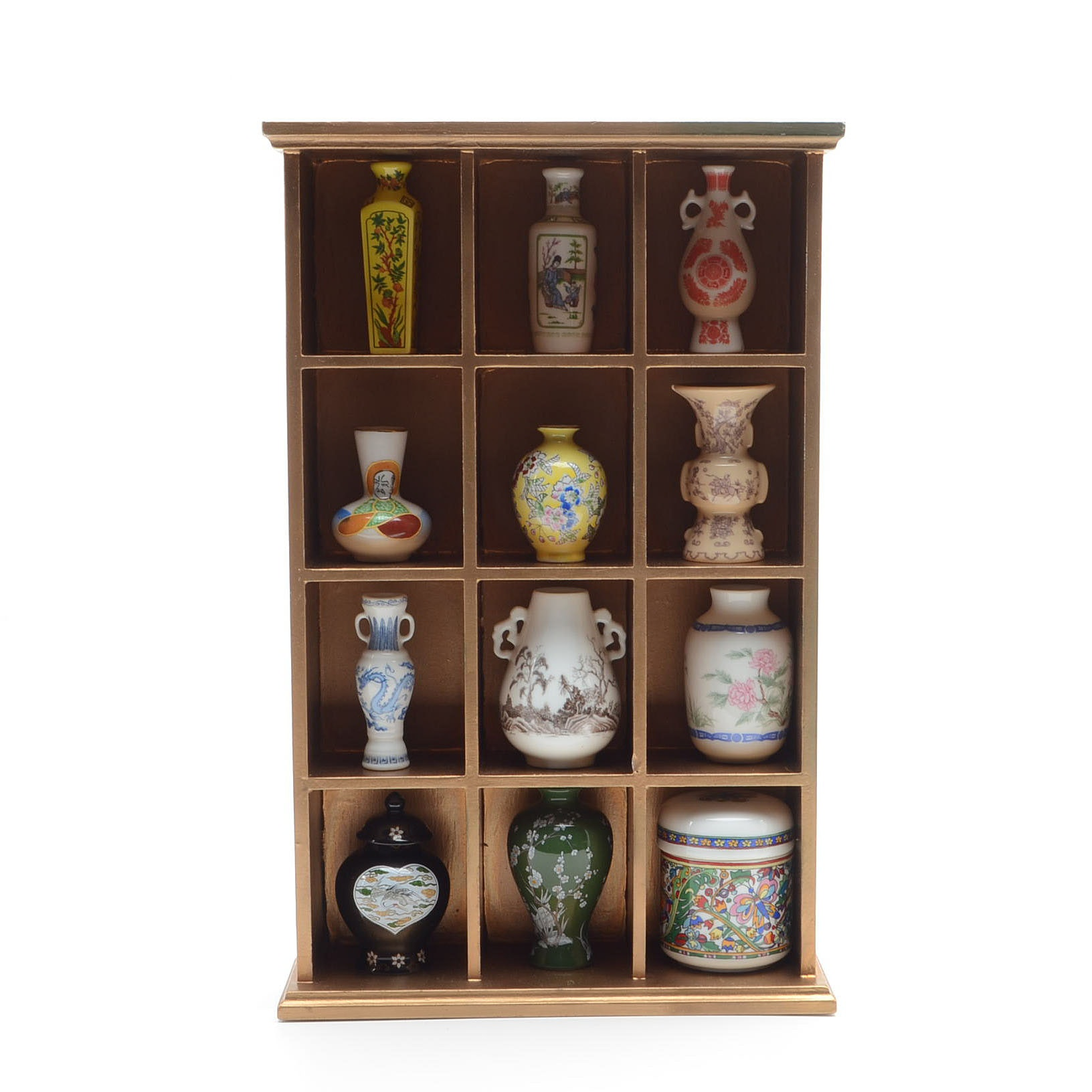 East Asian Porcelain Bud Vases with Cabinet