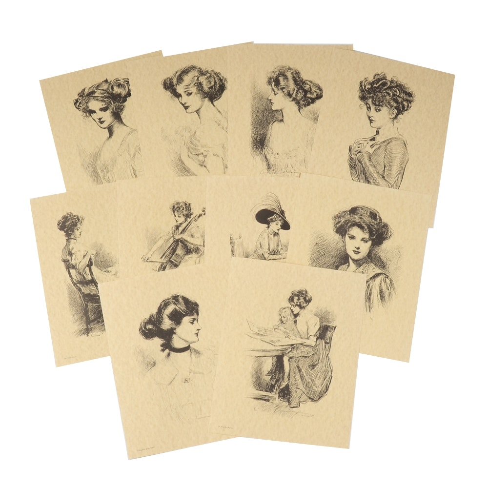 """Collection of """"Gibson Girl"""" Lithographs after Charles Dana Gibson"""