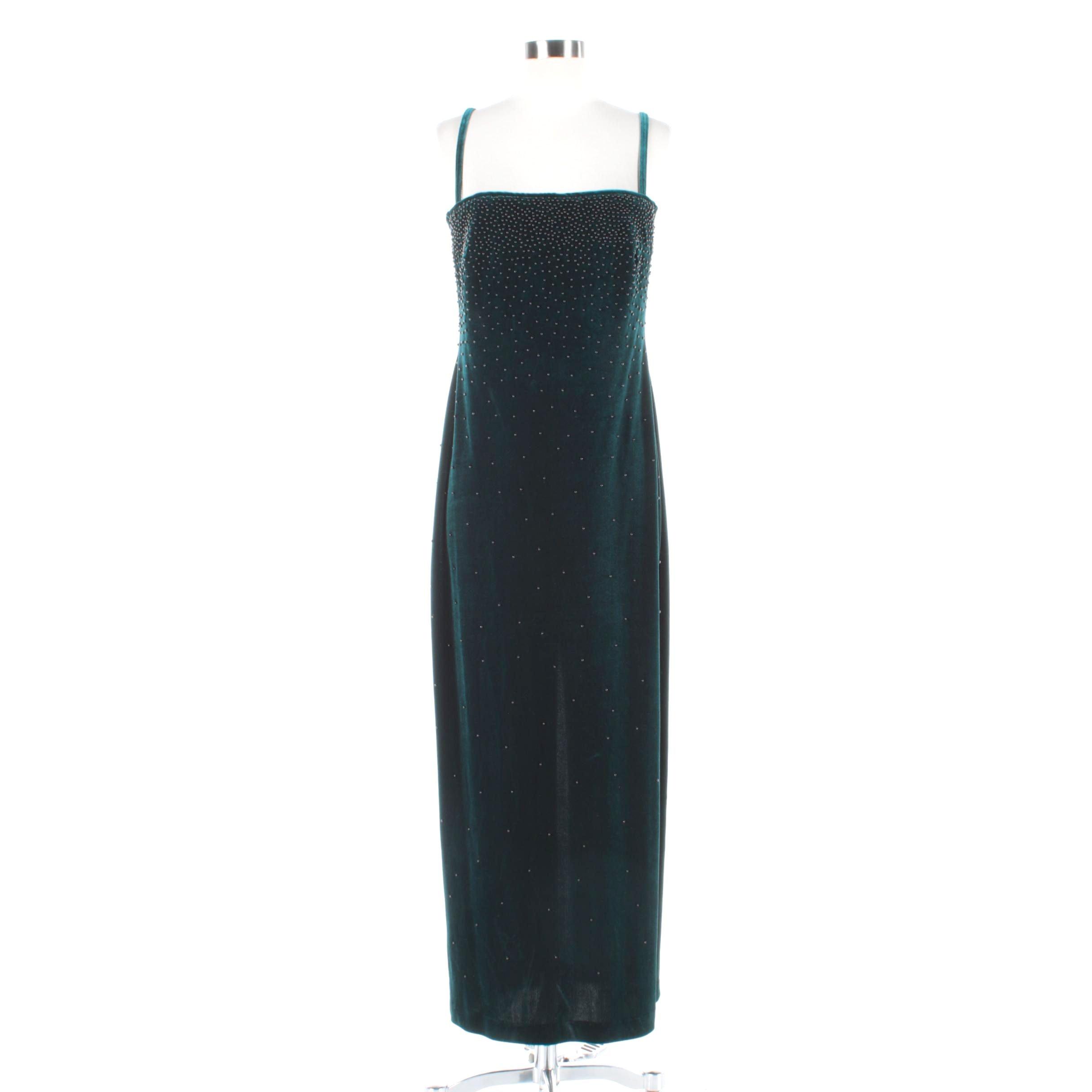 Pinky & Me Green Velvet Beaded Sleeveless Dress