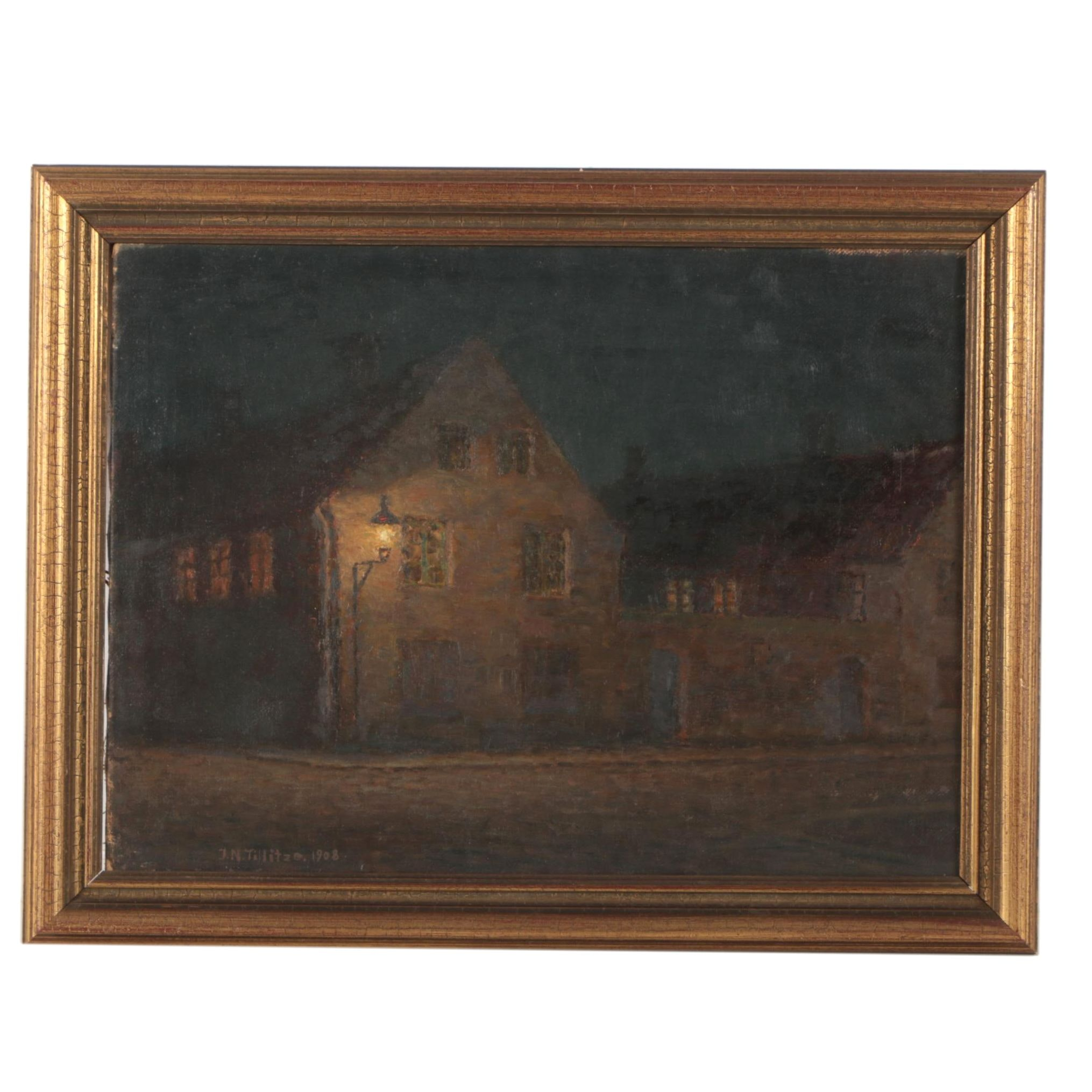 Johannes Nielsen Tillitze Oil Painting of House at Night