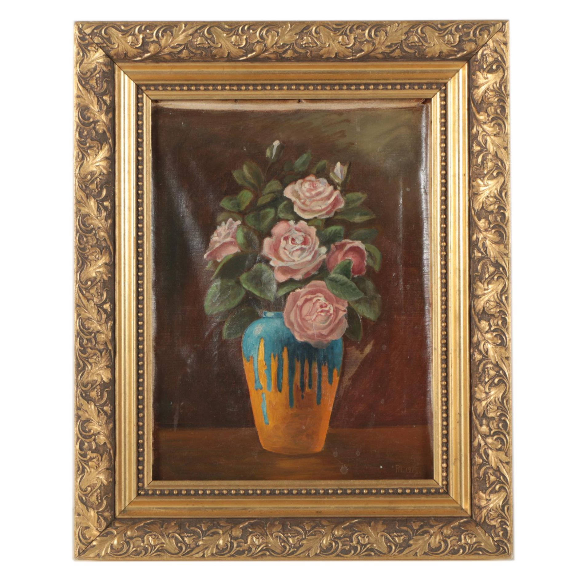 R.I. Oil Painting of a Floral Bouquet