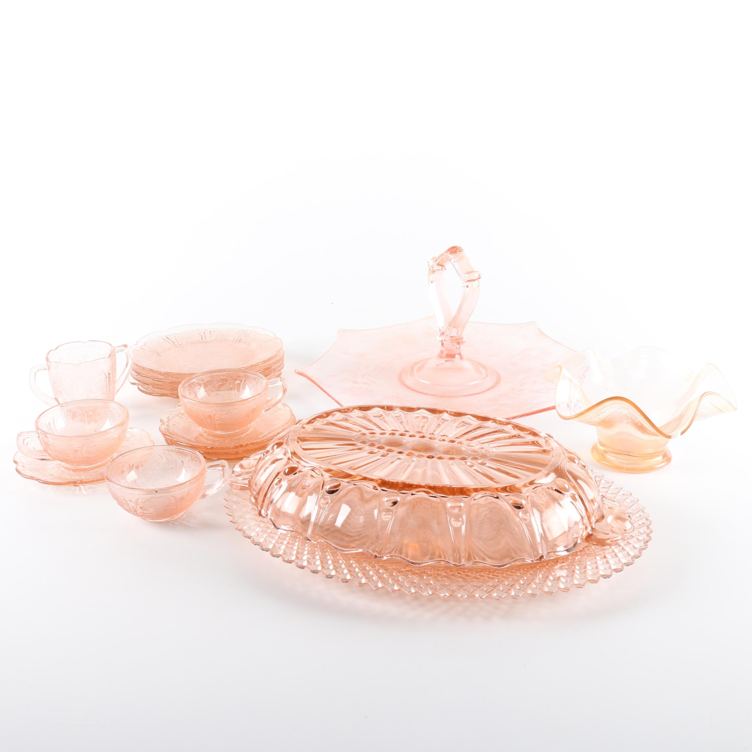"Depression Glass Pink Serveware Including Anchor Hocking ""Miss America"""
