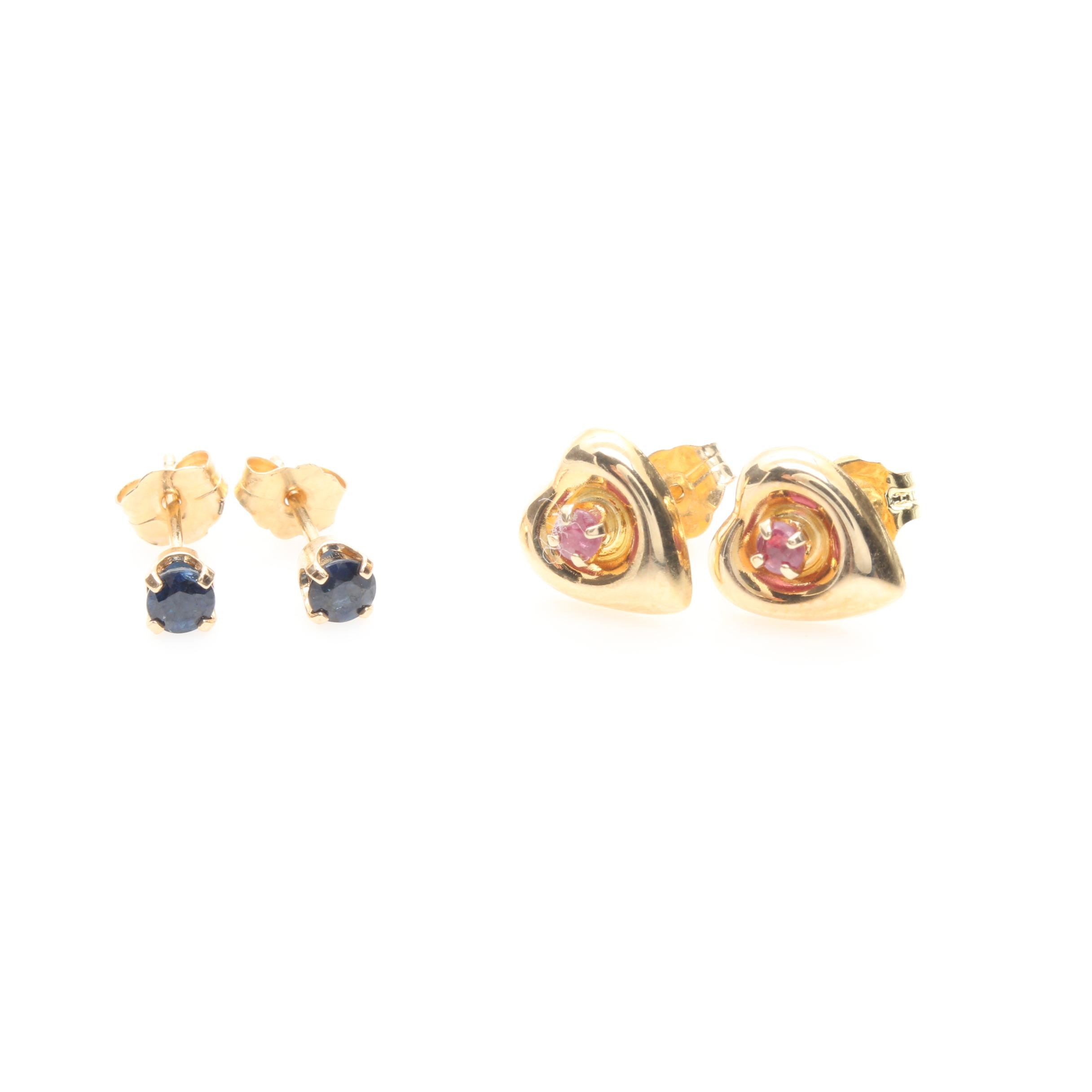 14K Yellow Gold Ruby and Sapphire Earring Selection
