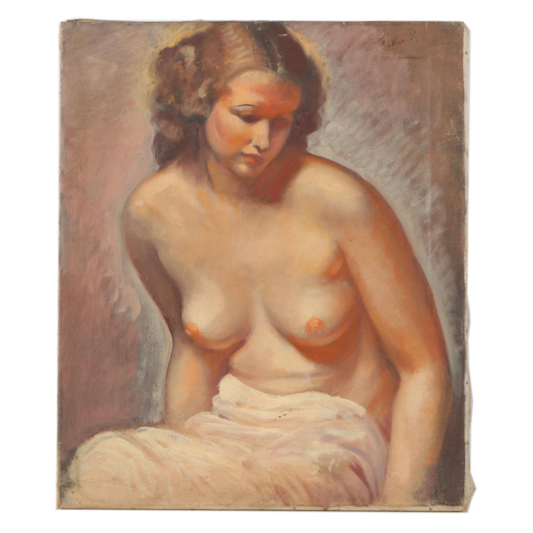 Signed Oil Painting of Nude Woman