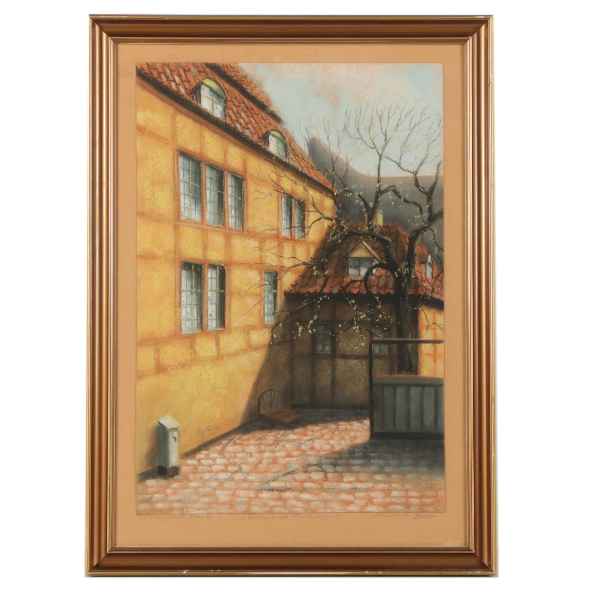 Mid Century Pastel Drawing of Sunlit Danish Courtyard